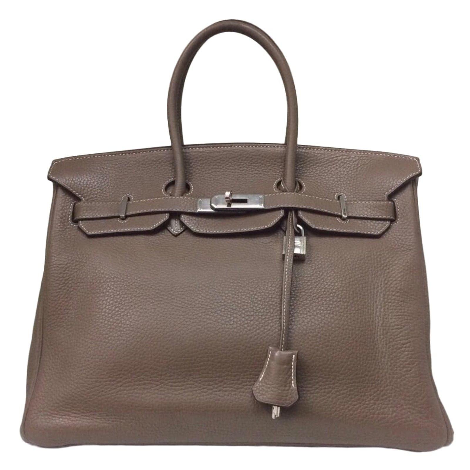 20236c9d117 Sacs à main Hermès Superbe Sac Hermès Birkin 35 étoupe en Clémence  Taurillon ! Cuir Gris