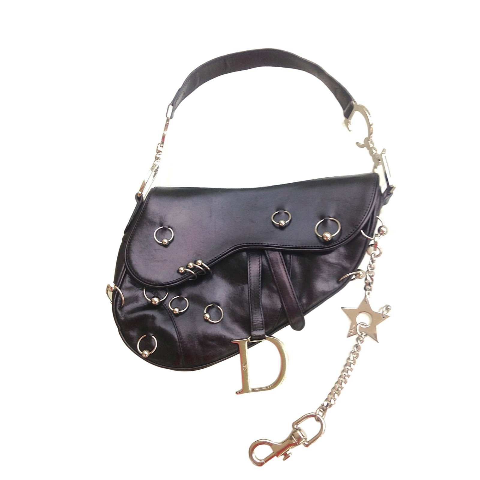 Dior Saddle Handbags Leather Black Ref 41612