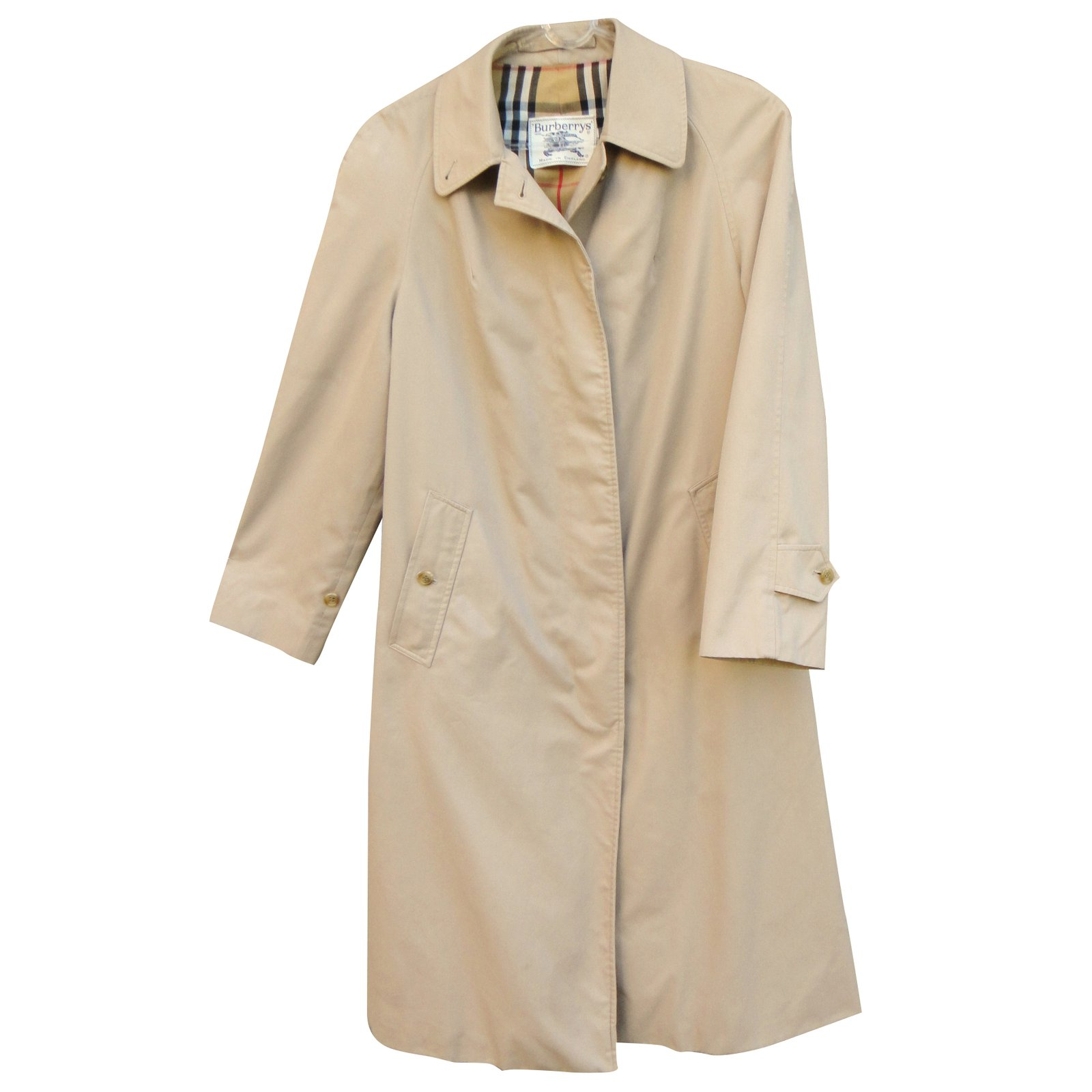 burberry trench coat coats outerwear cotton polyester beige ref