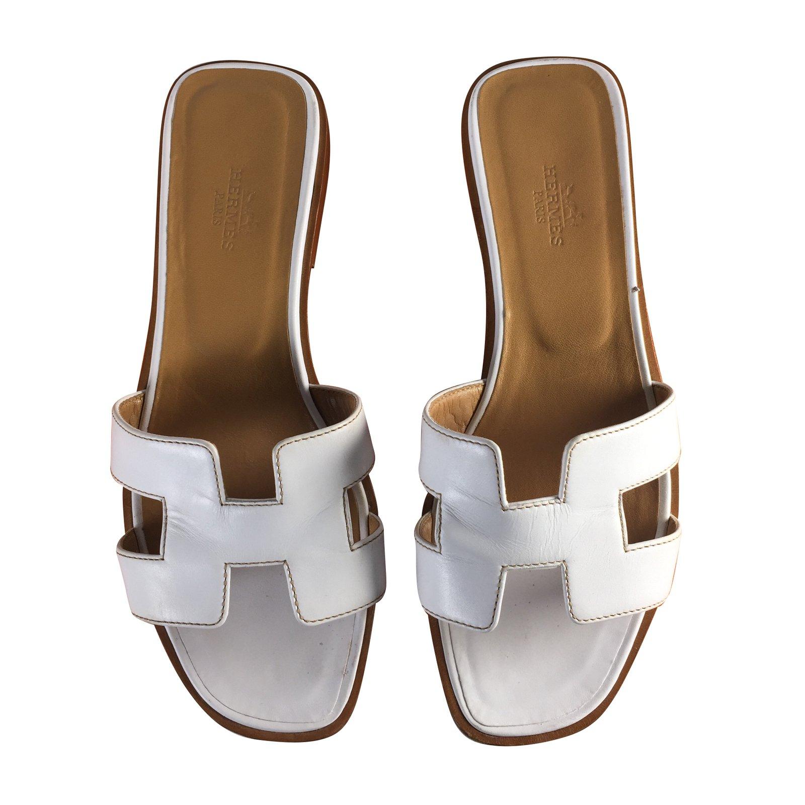 658c7fcf46d6 Hermès oran sandals leather white ref joli closet jpg 1600x1600 Hermes oran