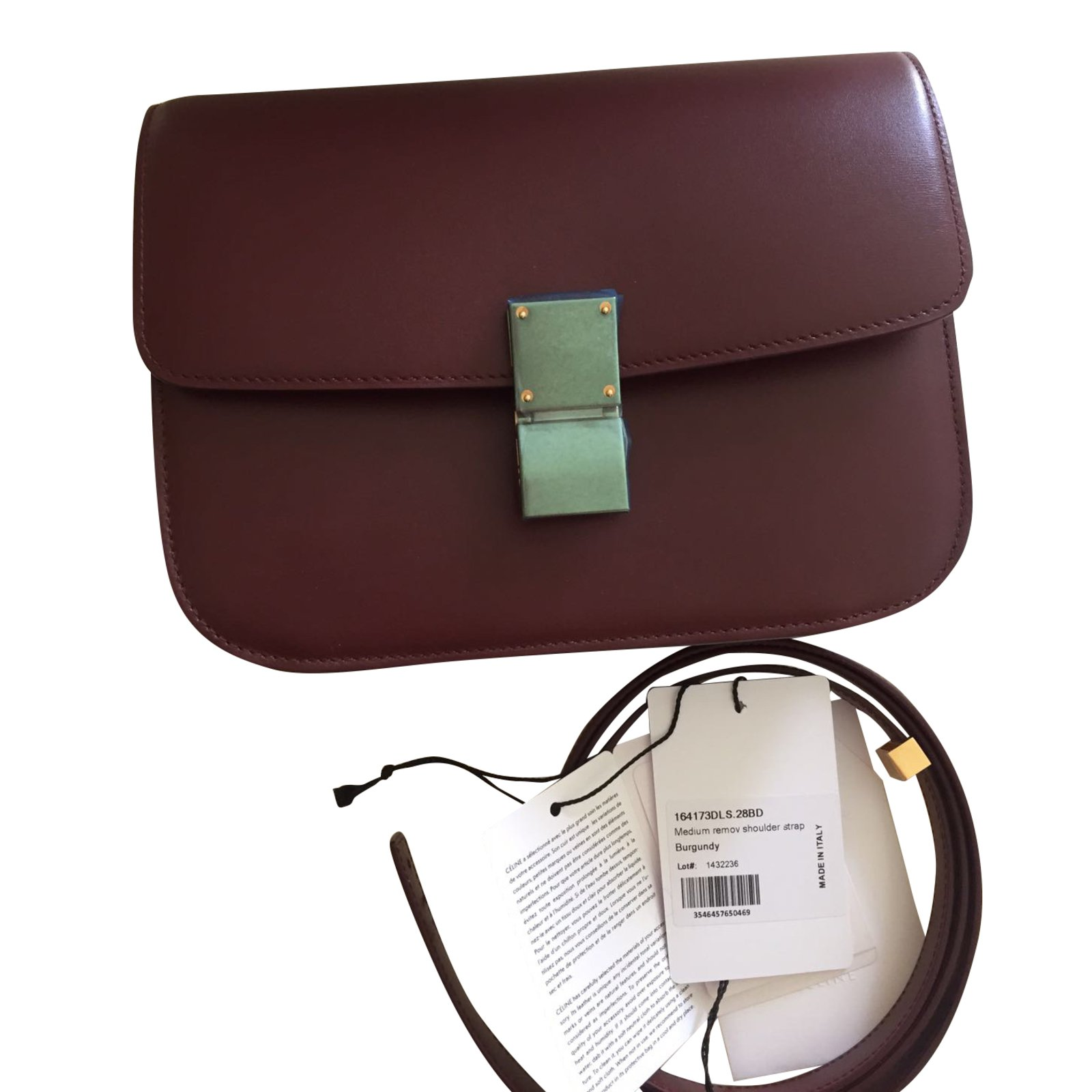 Céline Celine classic box Bordeaux Handbags Leather Dark red ref.42497 a3b19ea7a0cd4