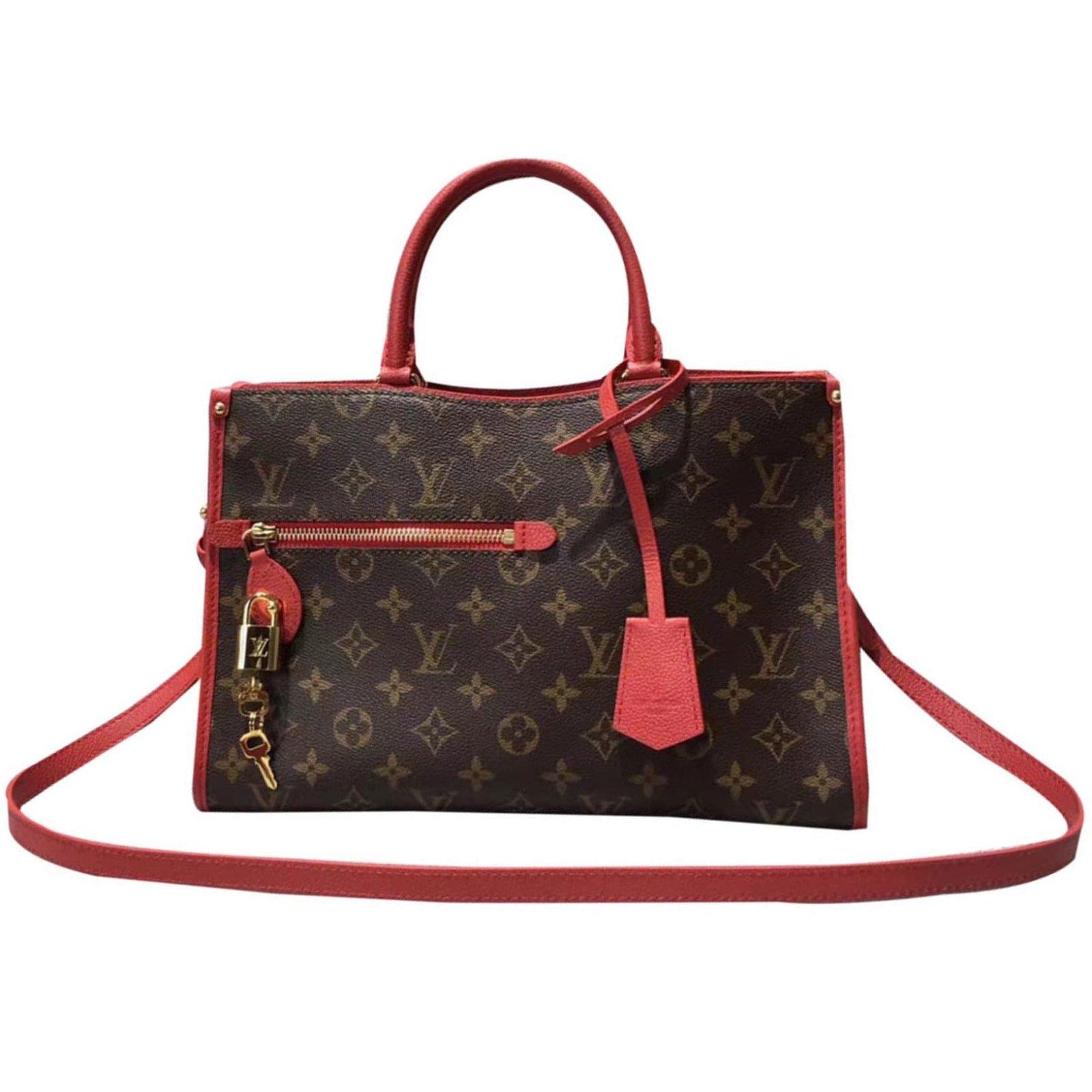 Louis Vuitton Popincourt Mm Red Handbags Leather Ref 42660