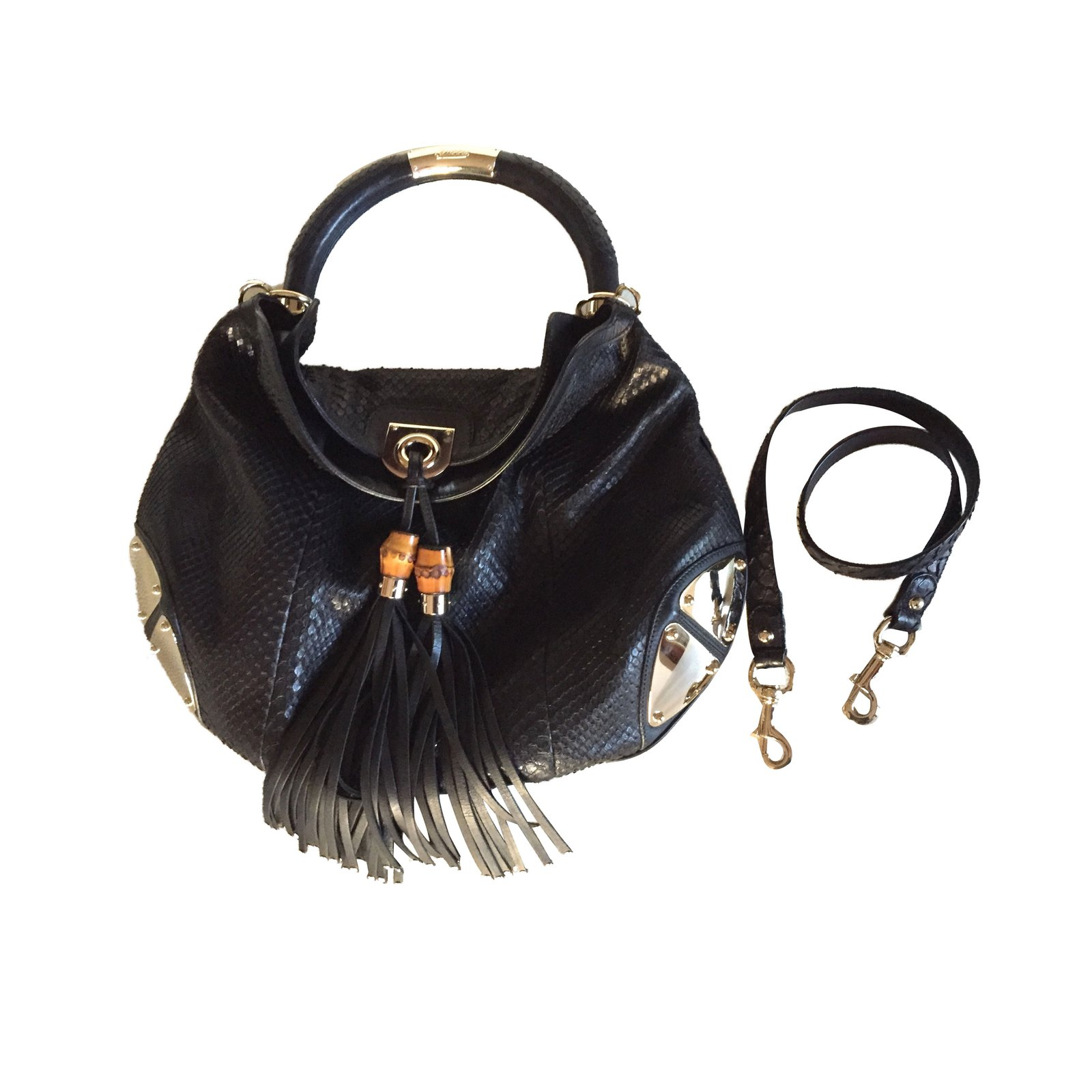 Gucci Indy Handbags Exotic Leather Black Ref 42701