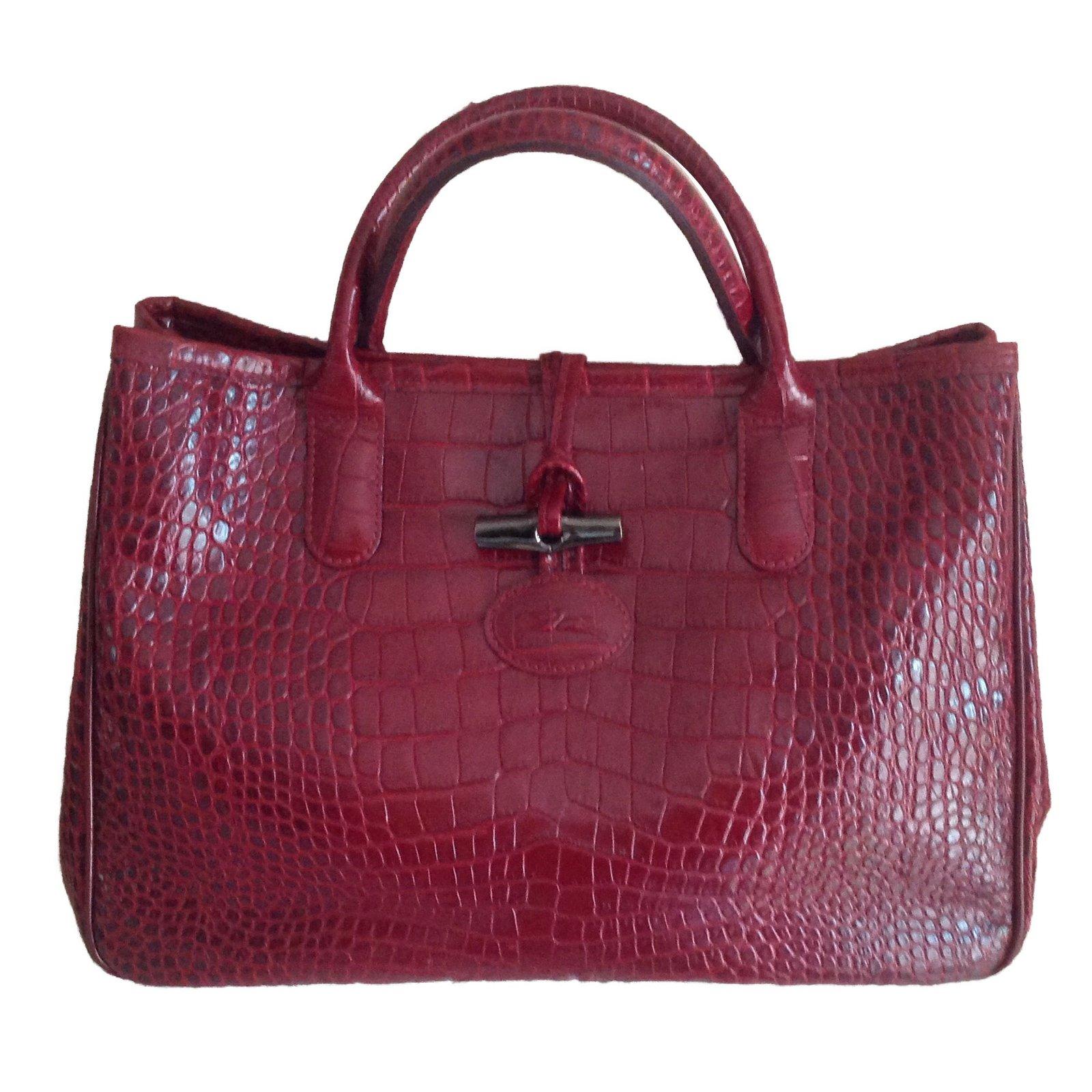 Longchamp Roseau Bag Handbags Leather Dark Red Ref 42722 Joli Closet