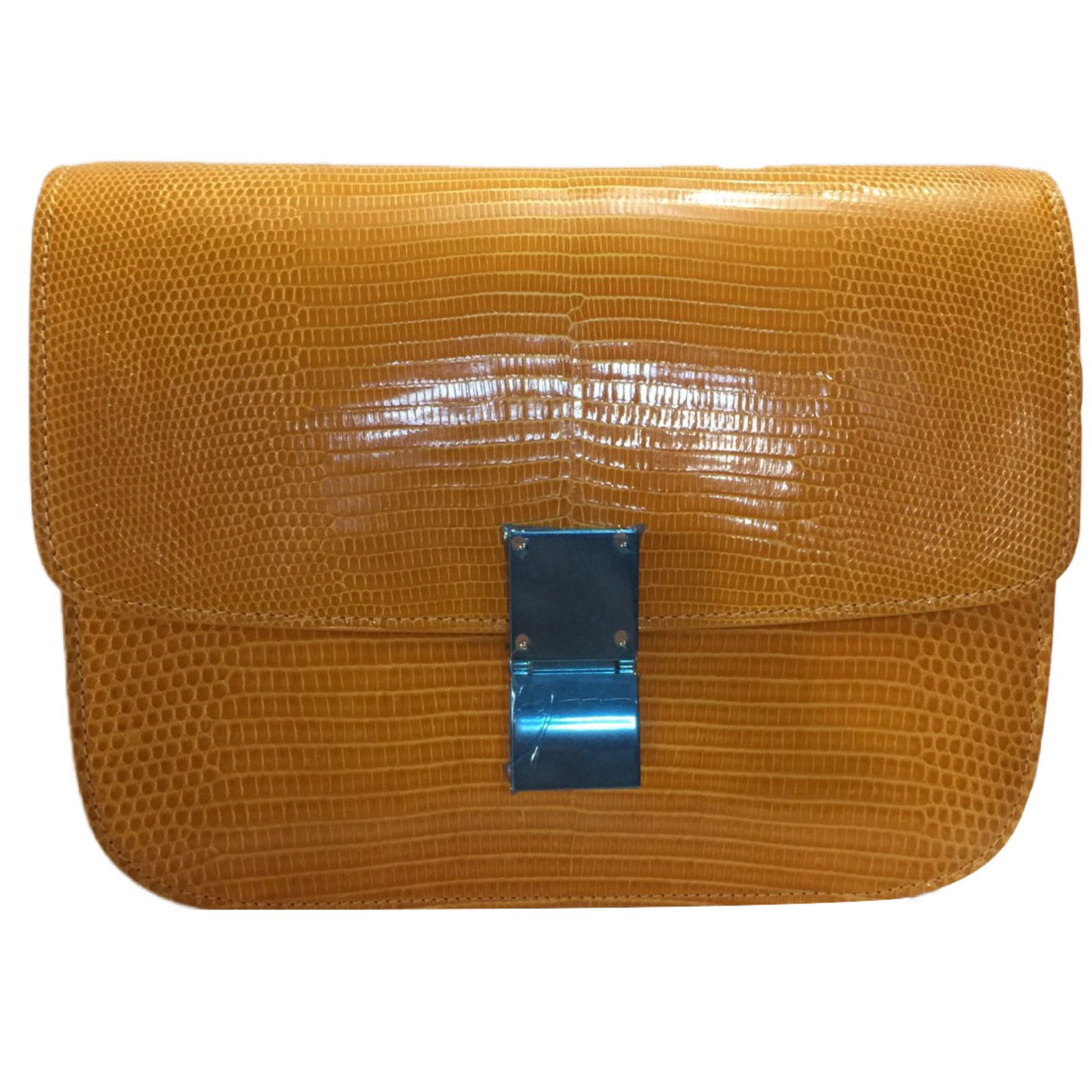 C 233 Line Celine Box Lizard Yellow Handbags Exotic Leather Yellow Ref 42766 Joli Closet