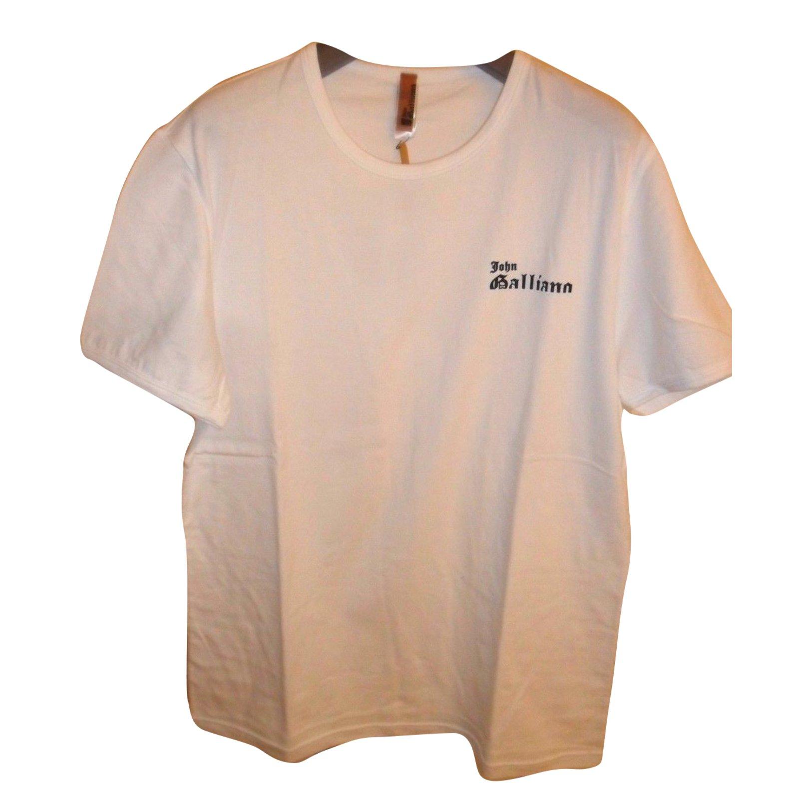 T shirt white colour - John Galliano John Galliano Bnwt Men S Crew Neck T Shirt White Color Tees Cotton White