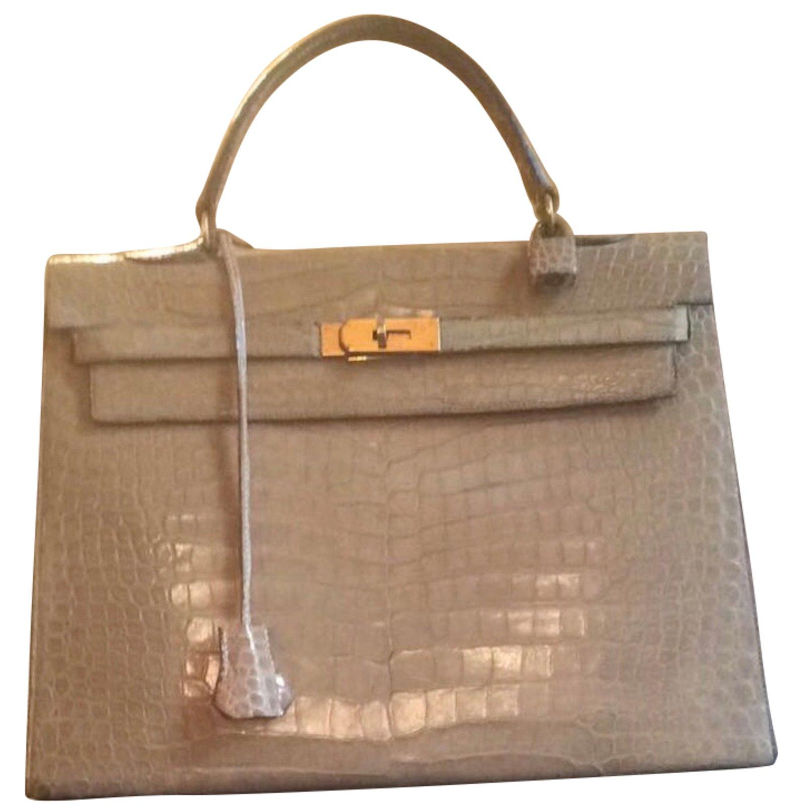28eb0bdf9361 ... cheapest hermès kelly 35 vintage crocodile handbags exotic leather  beige ref.43089 3450b dcd20