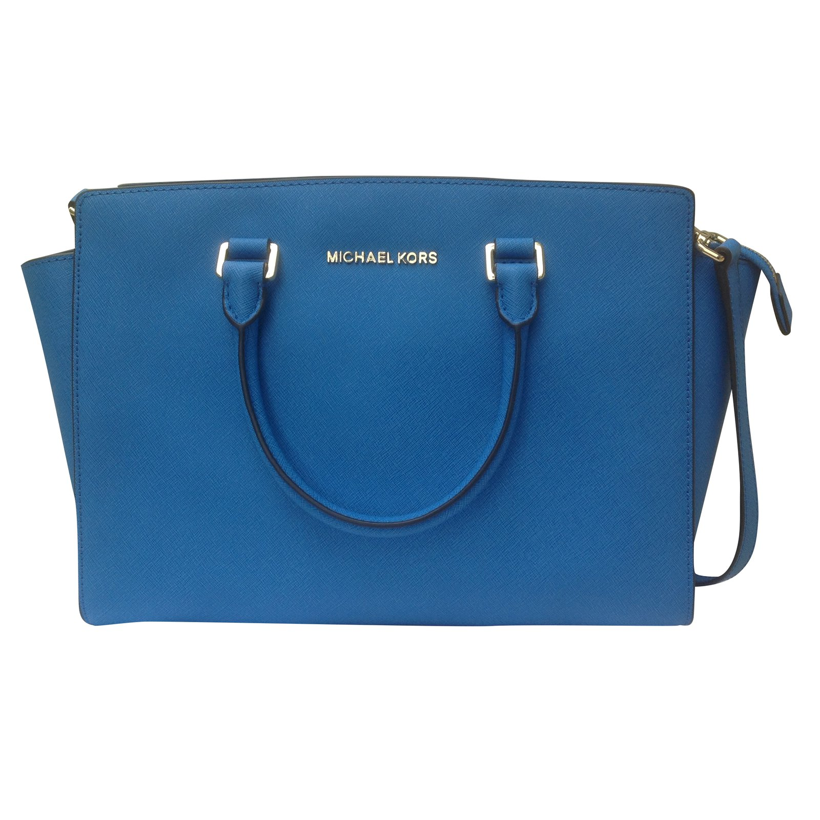 6de37be4acfd Michael Kors Selma Large Leather Satchael Handbags Leather Blue ref.43168