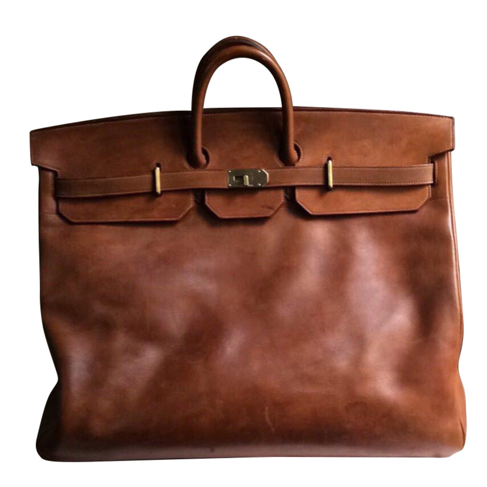 64ec82c039 Sacs de voyage Hermès Haut à courroies 60 vintage rare ! Cuir Marron  ref.43170