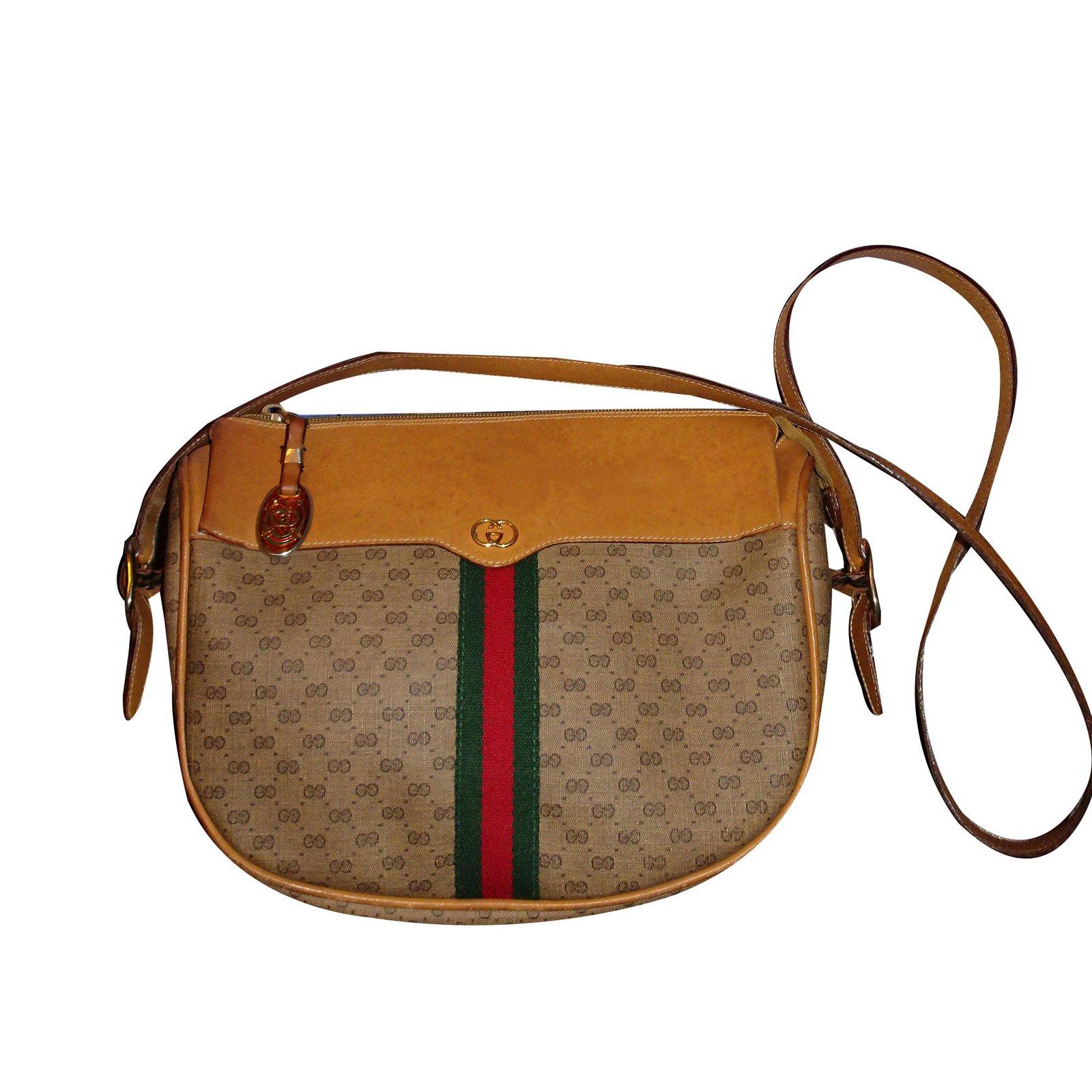 4193fcddd16528 Gucci Shoulder crossbody bag Handbags Leather Brown,Beige ref.43327 ...