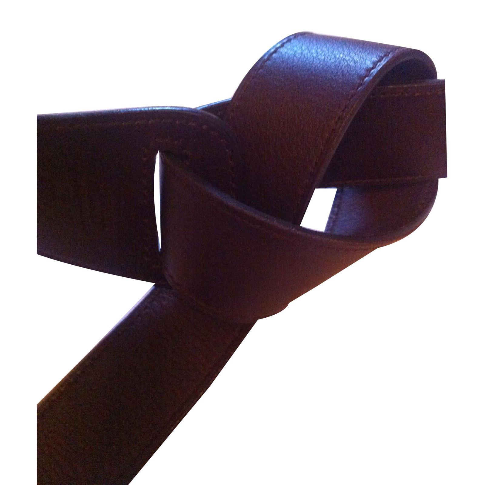 5a6903ea9c3 Ceintures Hermès ceinture souple Cuir Chocolat ref.43451 - Joli Closet