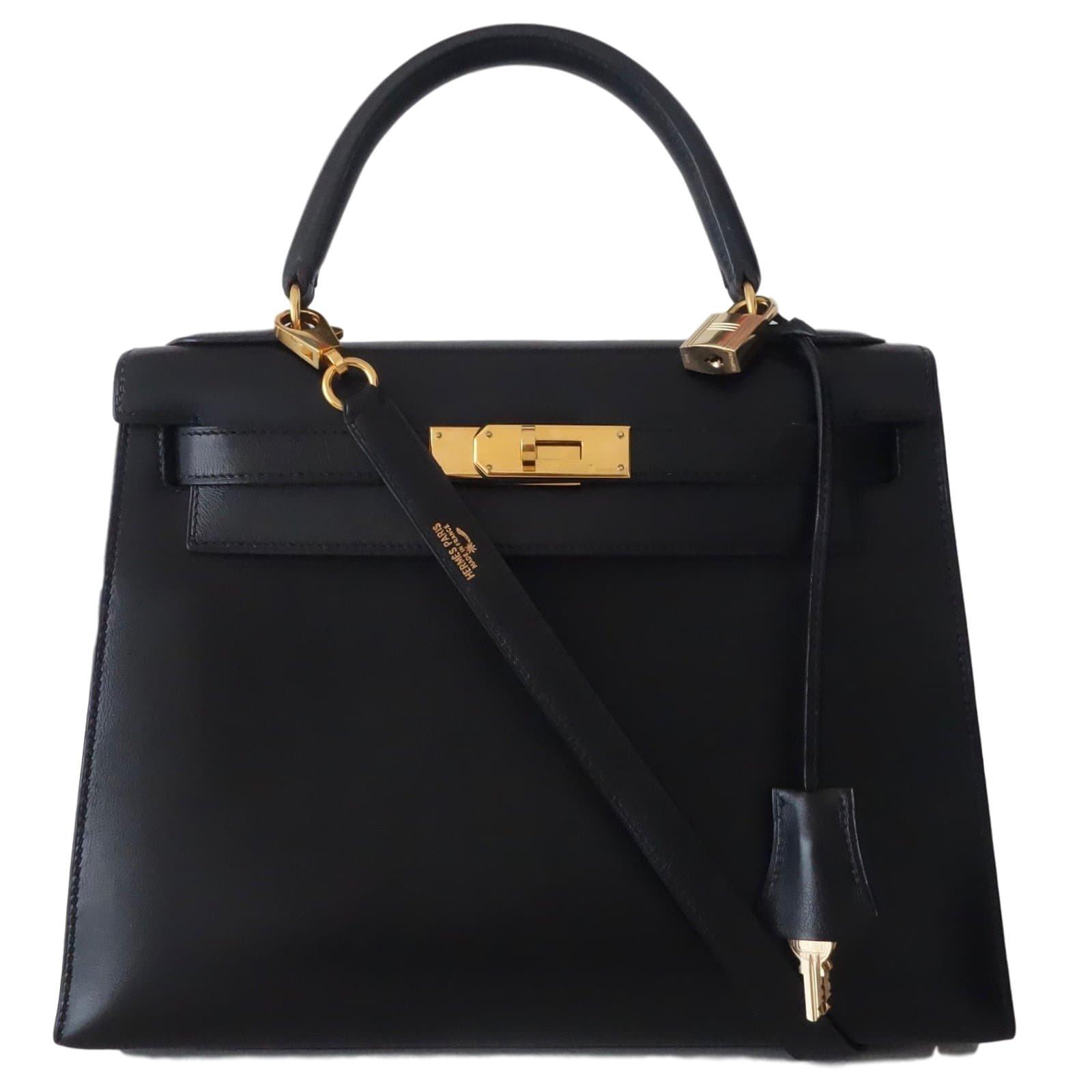 a9c794814b Sacs à main Hermès SAC HERMES KELLY 28 NOIR Cuir Noir ref.43543 ...