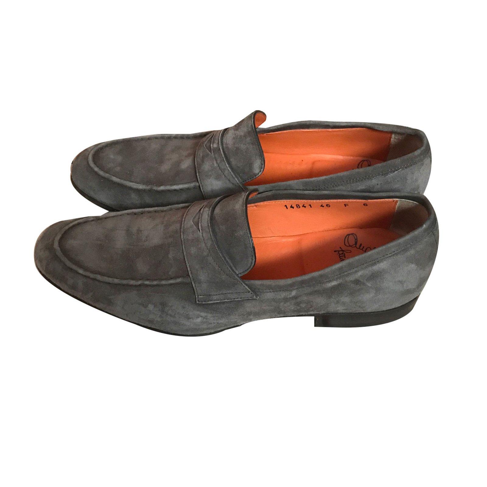 Santoni Loafers Slip ons Loafers Slip ons Suede Grey ref.43624