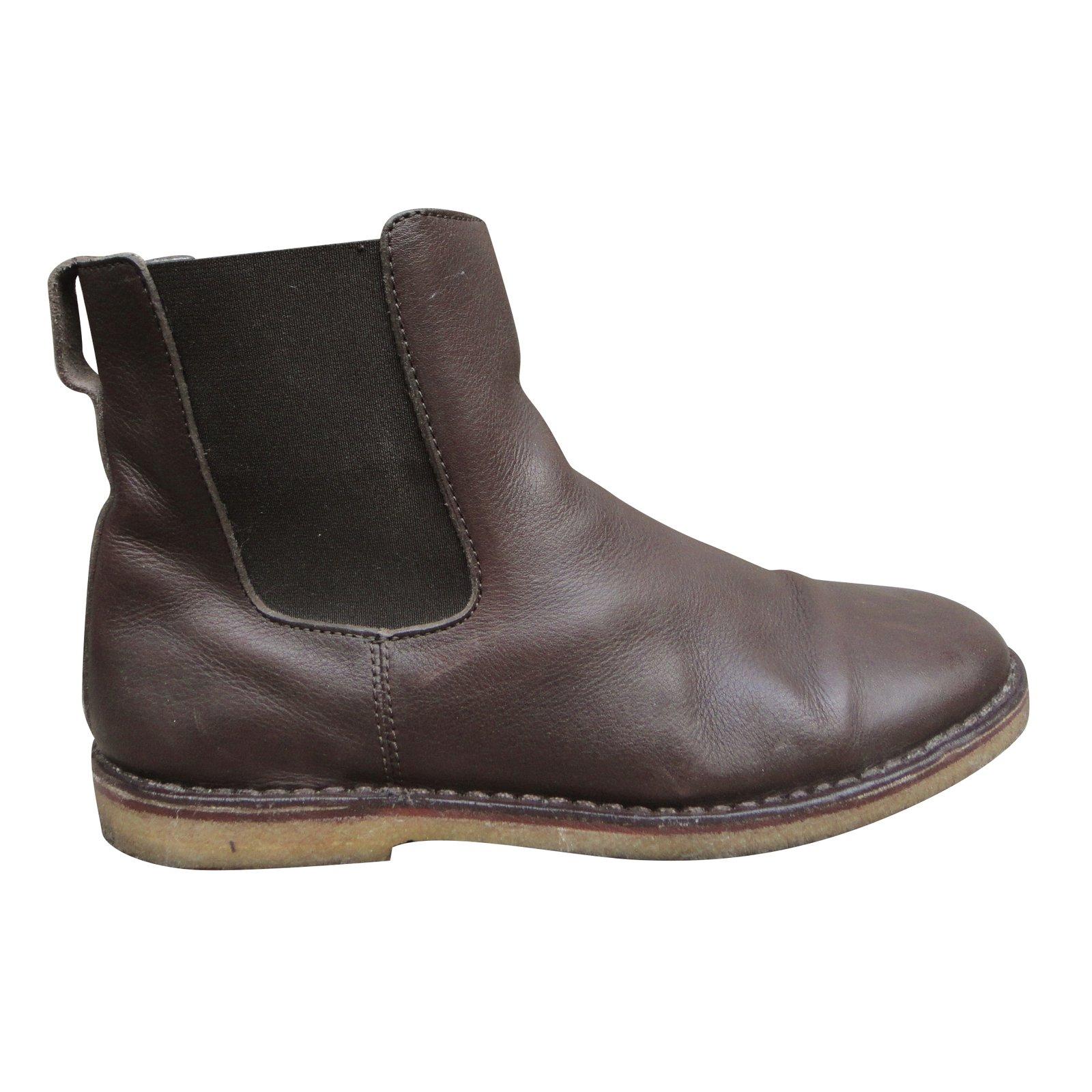 bottes boots apc bottes cuir marron fonc joli closet. Black Bedroom Furniture Sets. Home Design Ideas