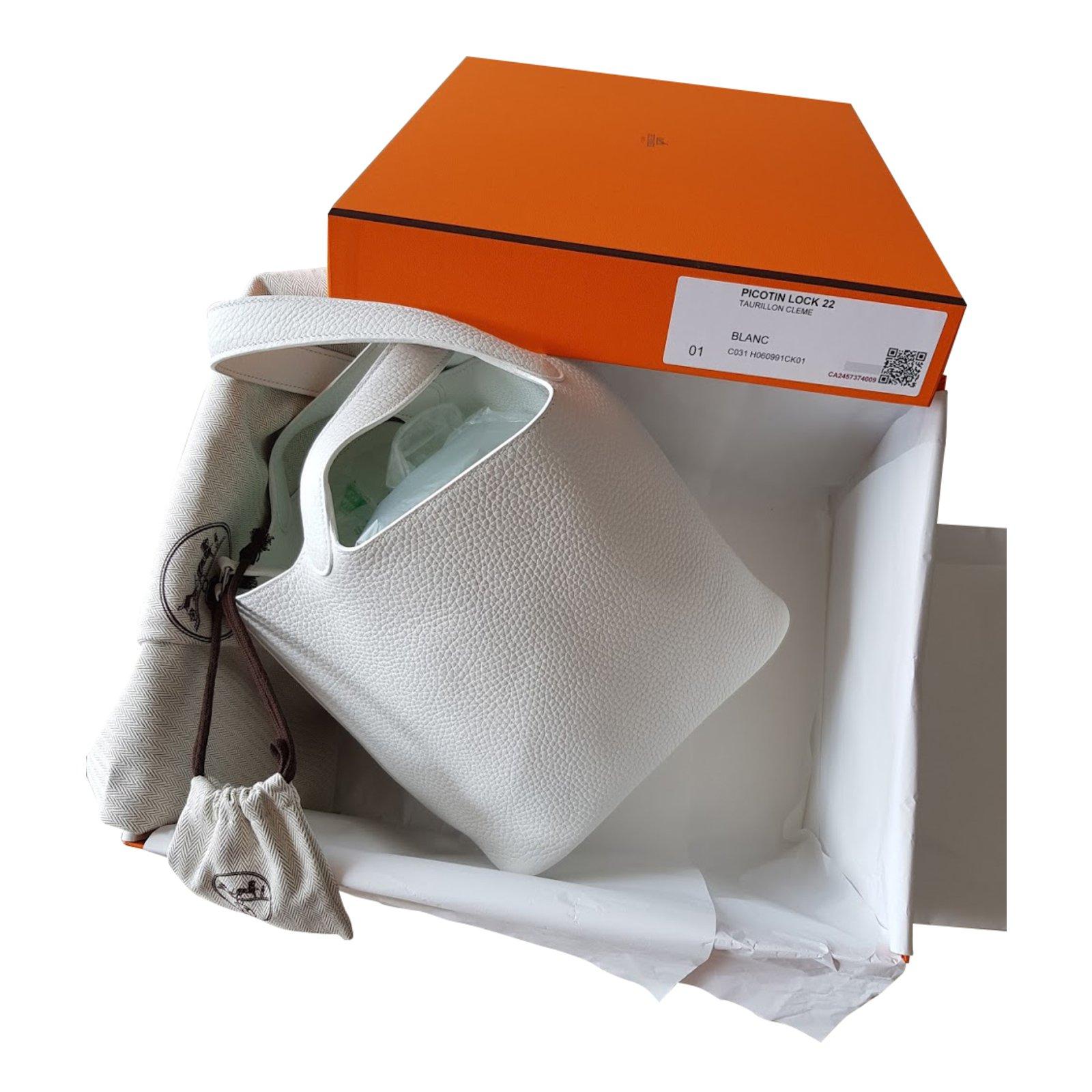 3771d0e82e Sacs à main Hermès PICOTIN LOCK 22 TAURILLON CLEMENCE BLANC Cuir Blanc  ref.44214