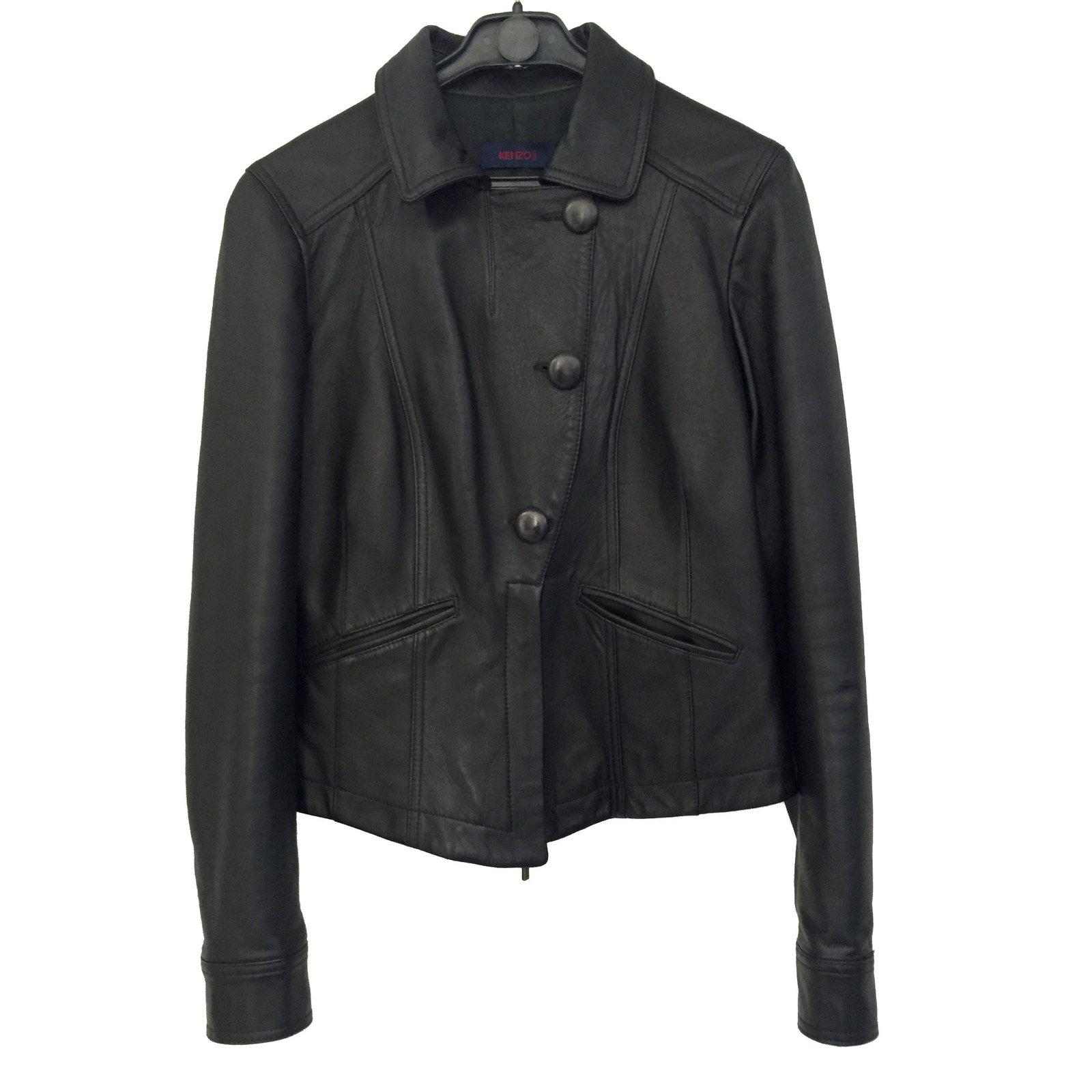 vestes kenzo veste cuir noir joli closet. Black Bedroom Furniture Sets. Home Design Ideas