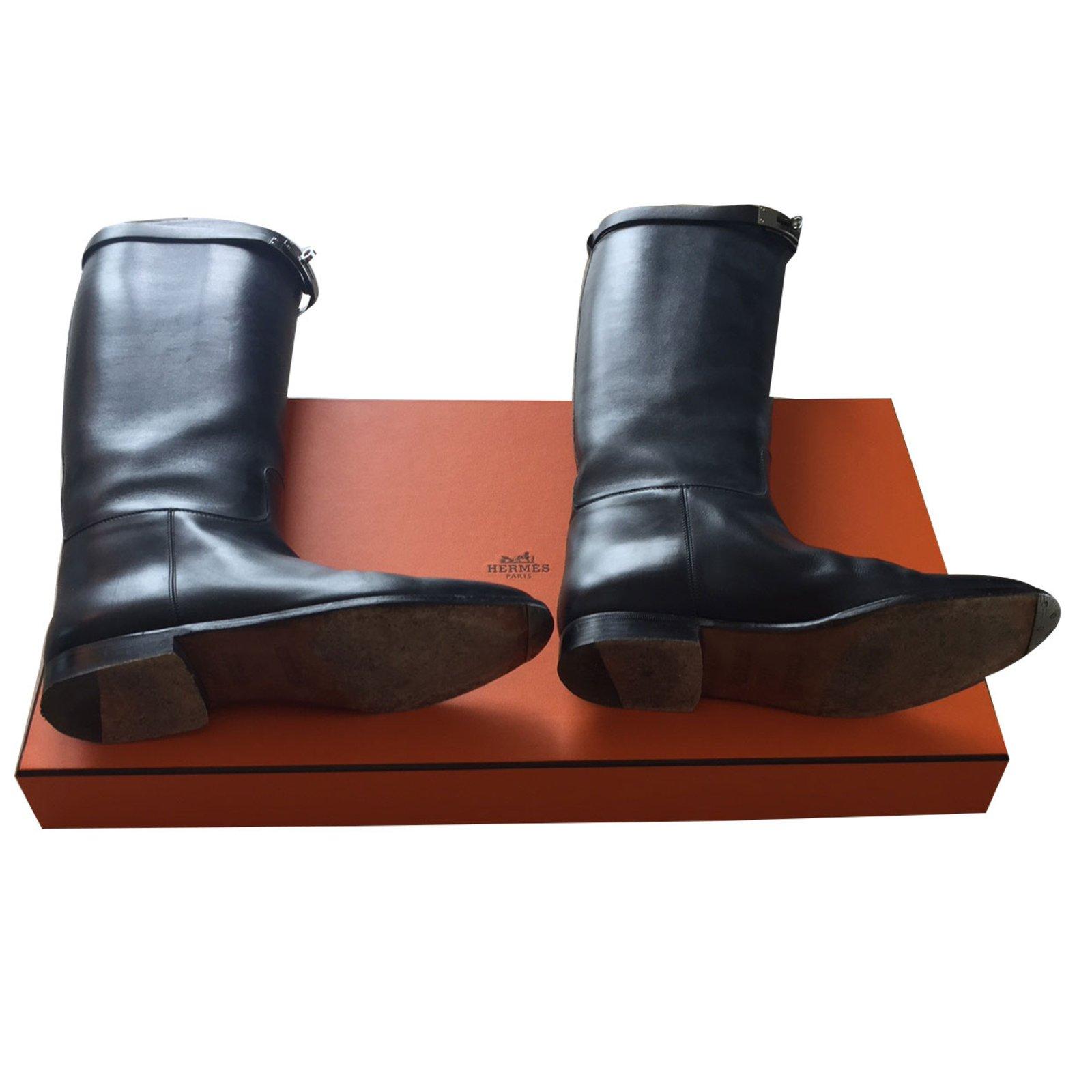 bottes herm s bottes cavali res herm s cuir noir joli closet. Black Bedroom Furniture Sets. Home Design Ideas