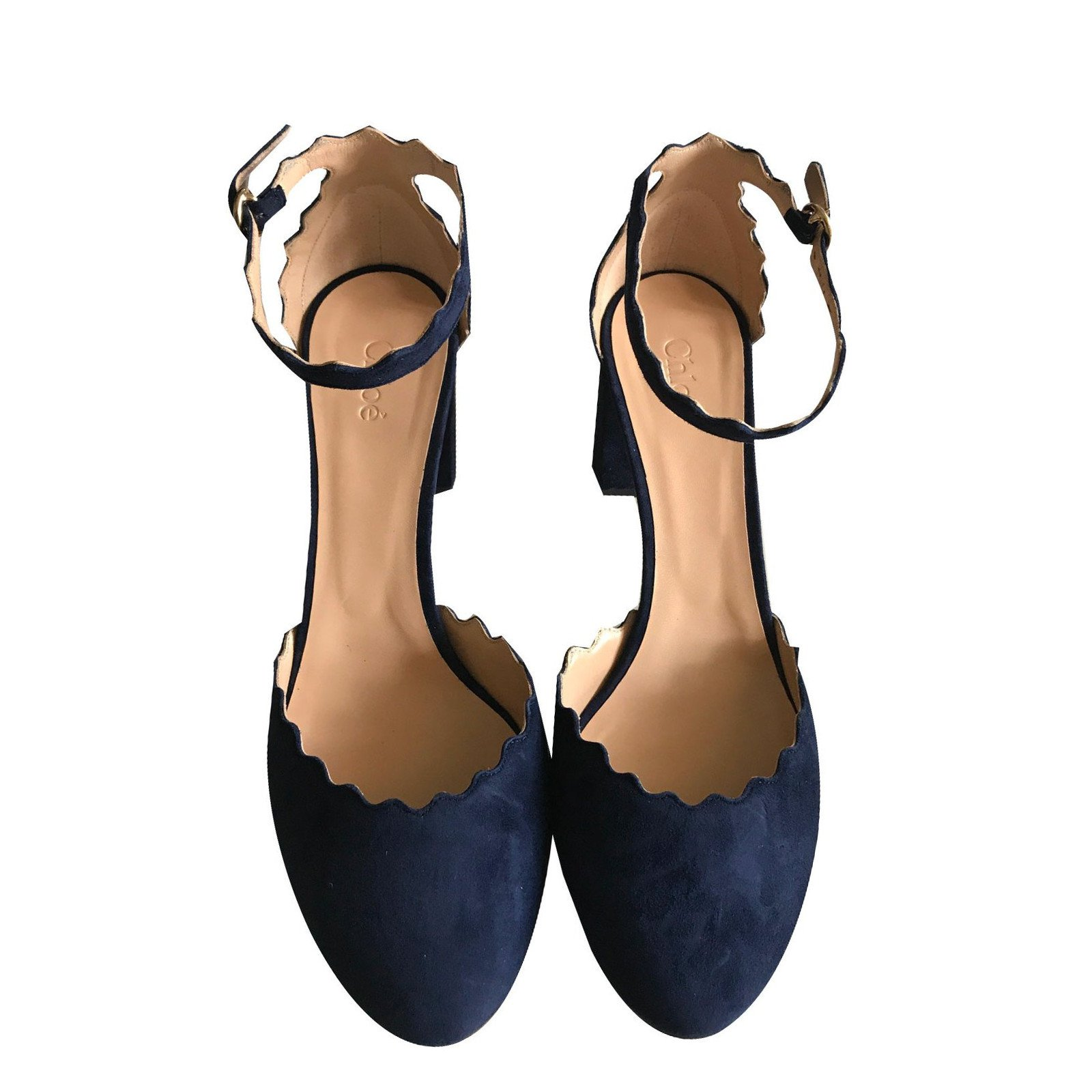 2fc7a5c9052c Chloé Sandals Lauren Sandals Deerskin Navy blue ref.44365 - Joli Closet