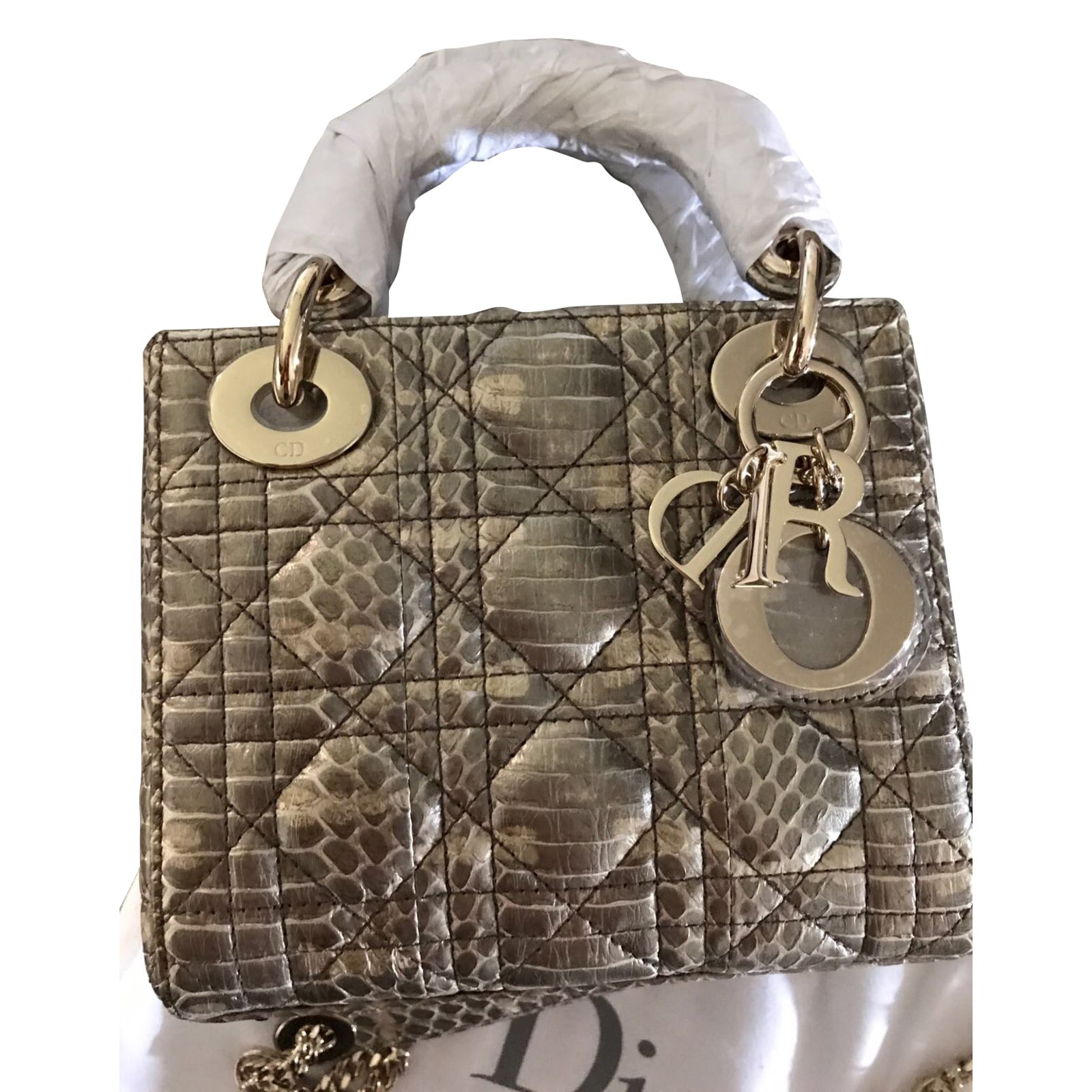 b60b3908a1f Dior Lady Dior mini Handbags Exotic leather Python print ref.44438 ...