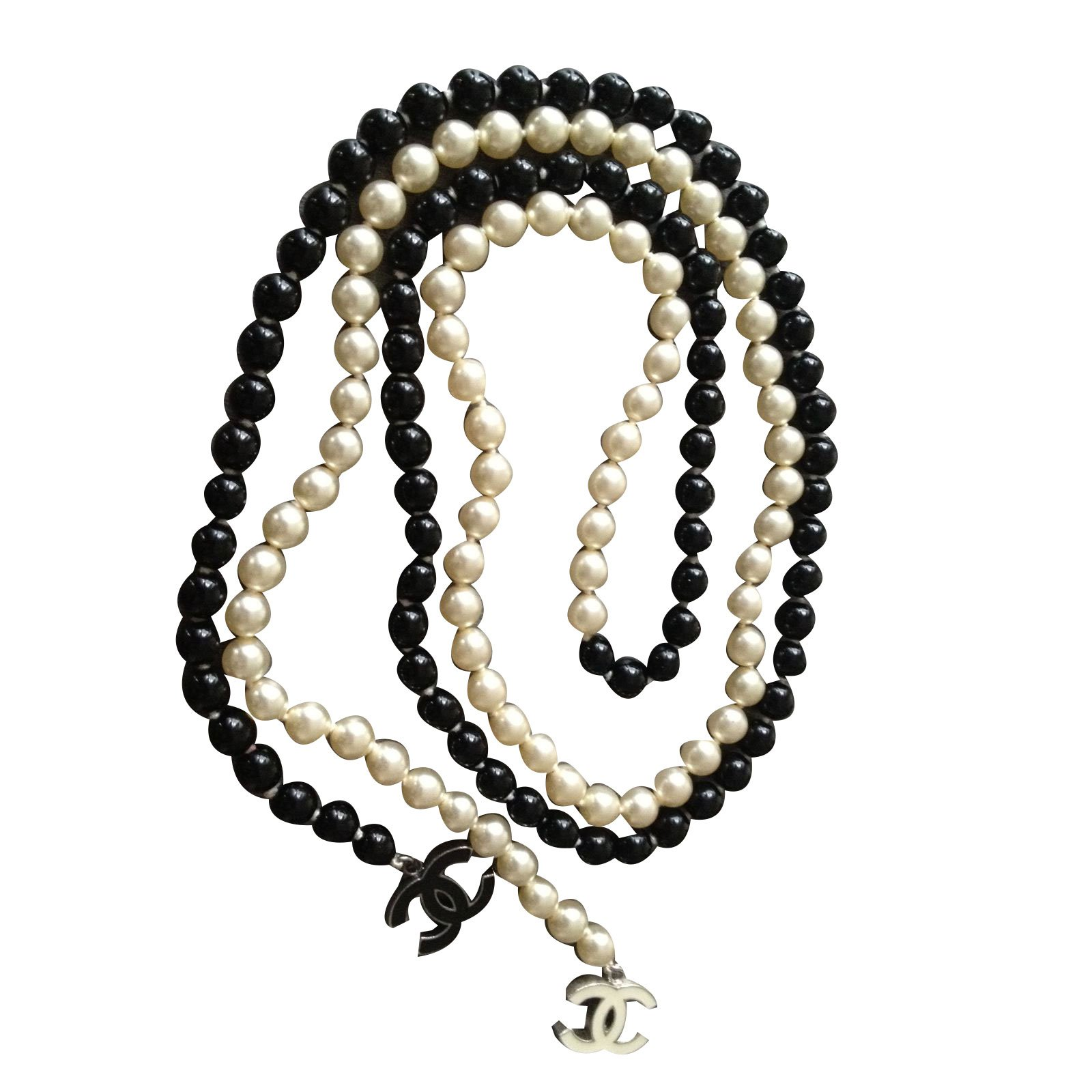 Sautoirs Chanel Collier Perle Noir,Blanc ref.44737