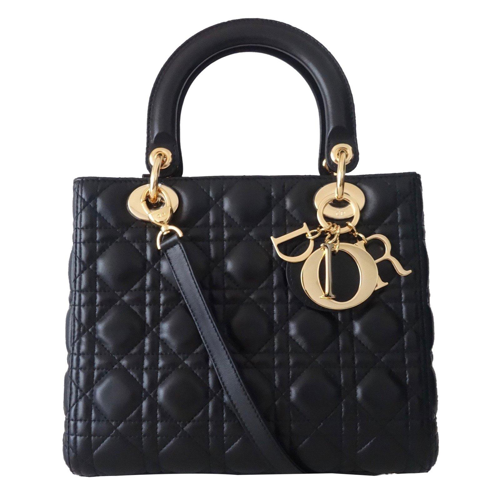 Sacs à main Christian Dior SAC LADY DIOR NOIR MEDIUM Cuir Noir ref.44821 0e450de8b6d
