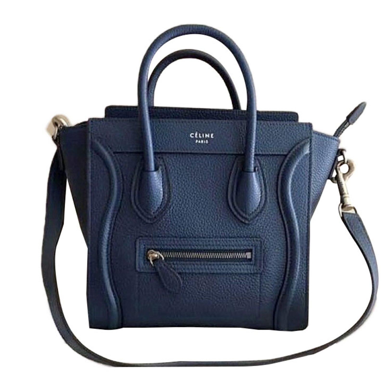 Céline Handbag Handbags Leather Navy Blue Ref 44933