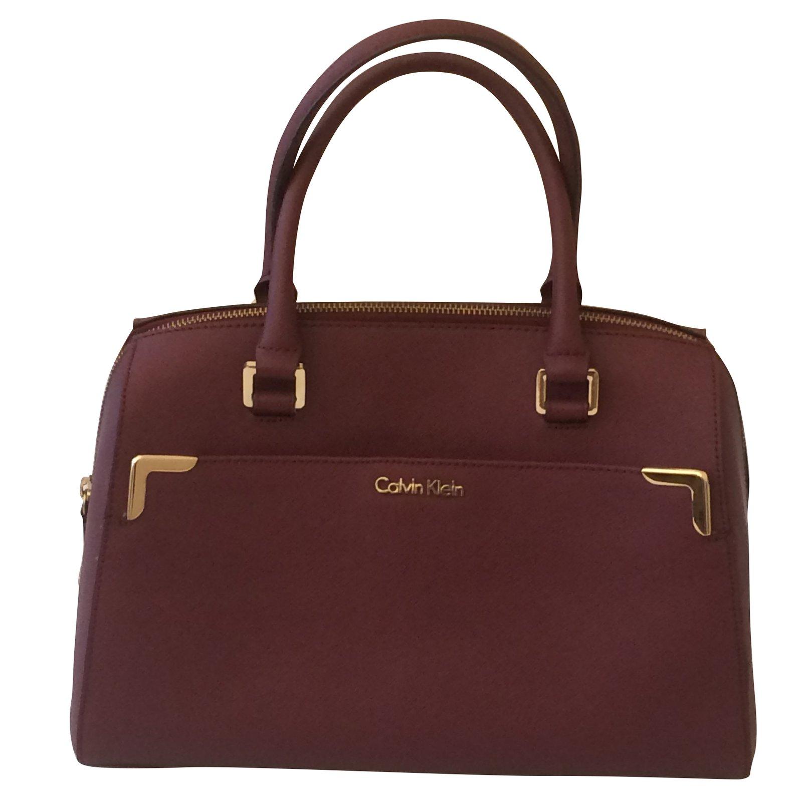 Calvin Klein Handbags Leather Dark Red Ref 45242