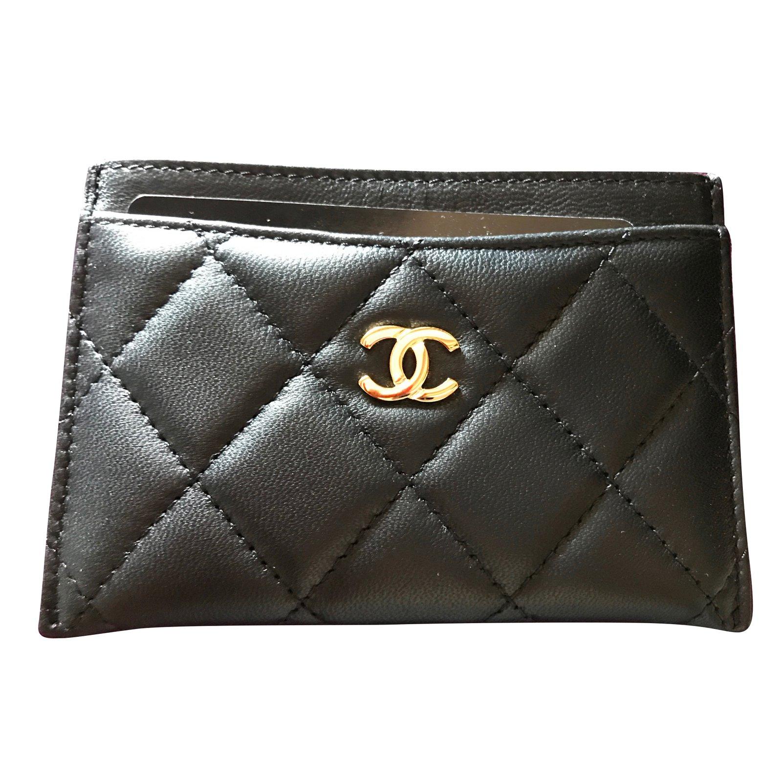 chanel card holder wallets leather black ref45262 joli