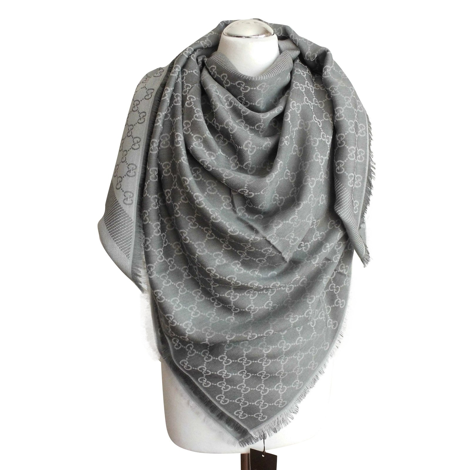 28479f5988a6 Gucci scarf scarves silk wool grey ref joli closet jpg 1600x1600 Gucci scarf