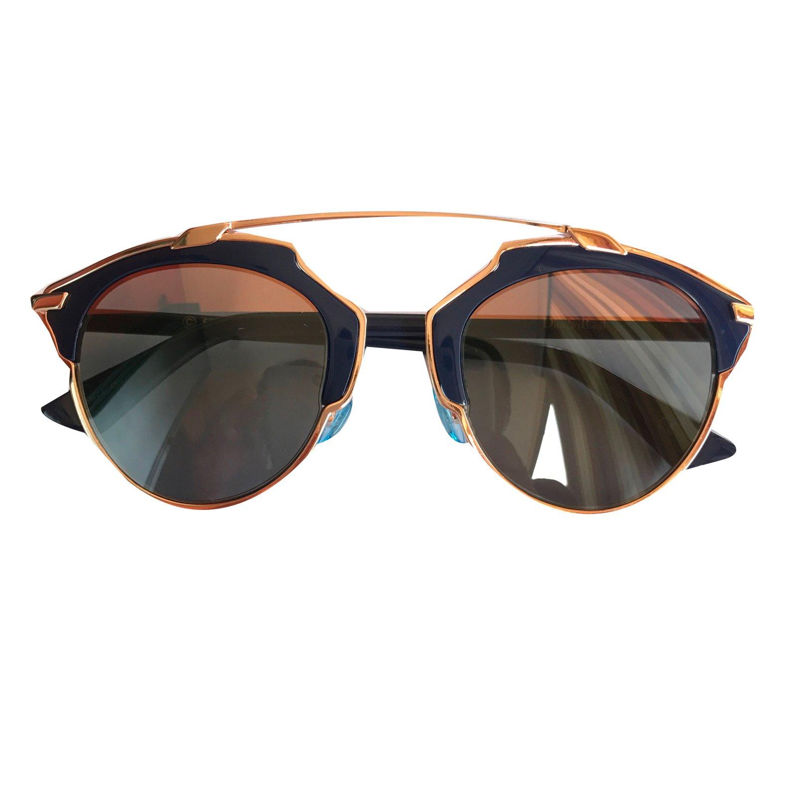 0760a9945b278 Bare ut Christian Dior Dior so real rose gold Sunglasses Metal Blue ref  KK-84