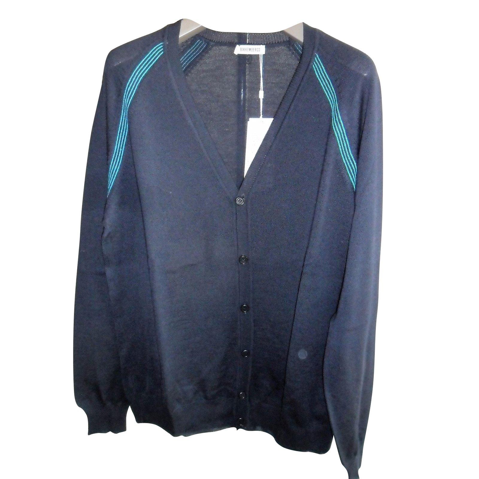Dirk Bikkenbergs Bikkembergs new men's navy blue cardigan Sweaters ...