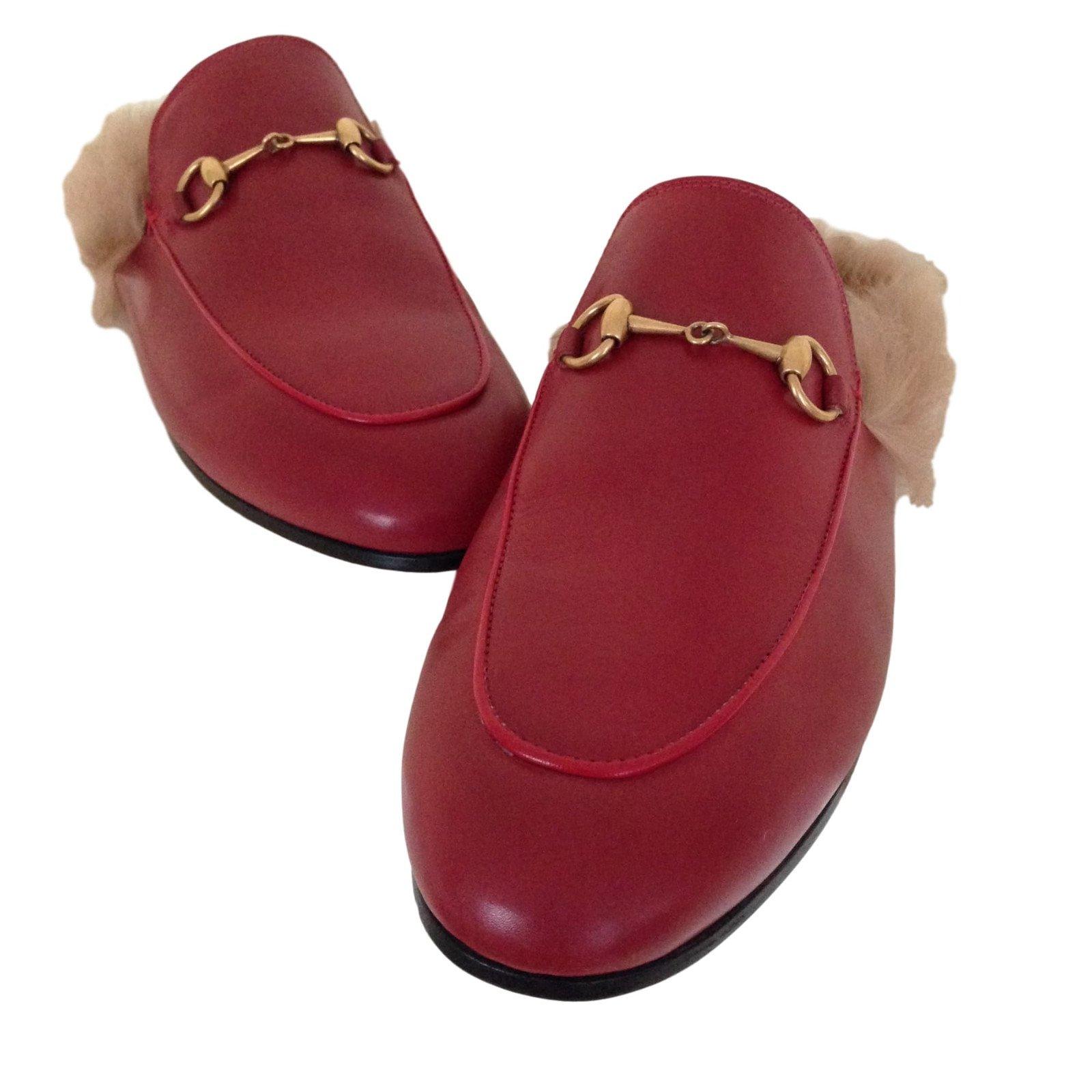 9de4f5295d39c3 Gucci Mules Flats Leather Dark red ref.45831 - Joli Closet