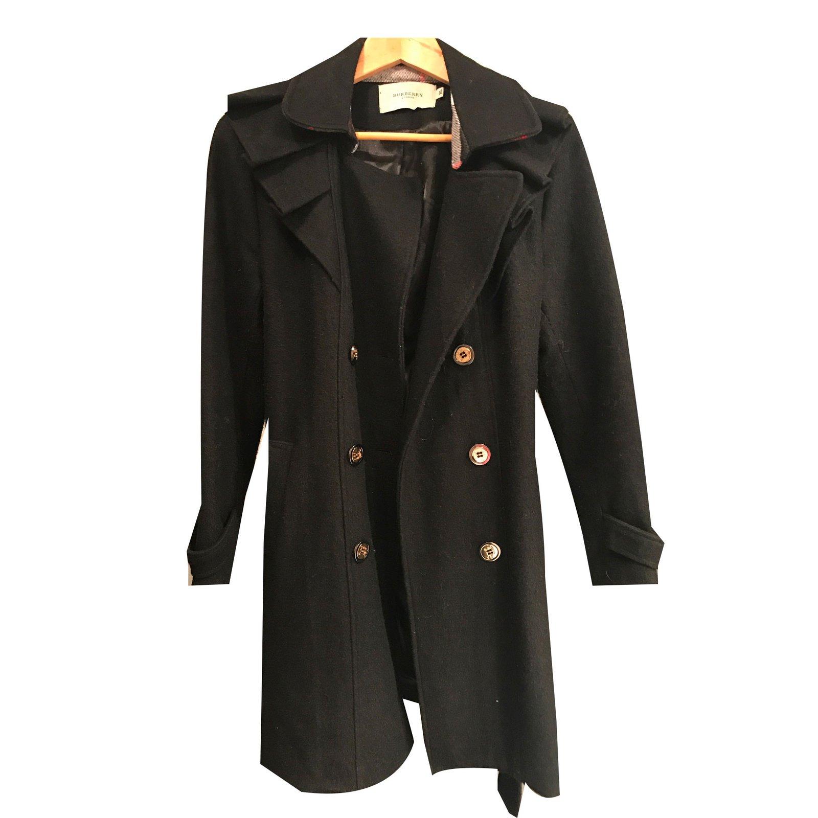 manteaux burberry manteau laine noir joli closet. Black Bedroom Furniture Sets. Home Design Ideas