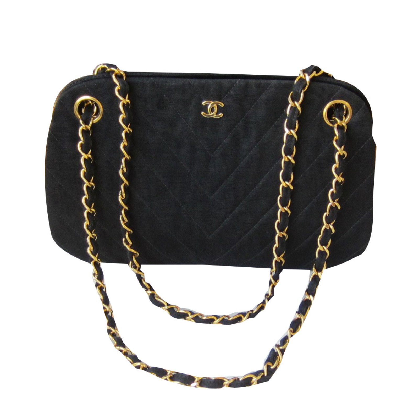 sacs main chanel sacs main tissu noir joli. Black Bedroom Furniture Sets. Home Design Ideas