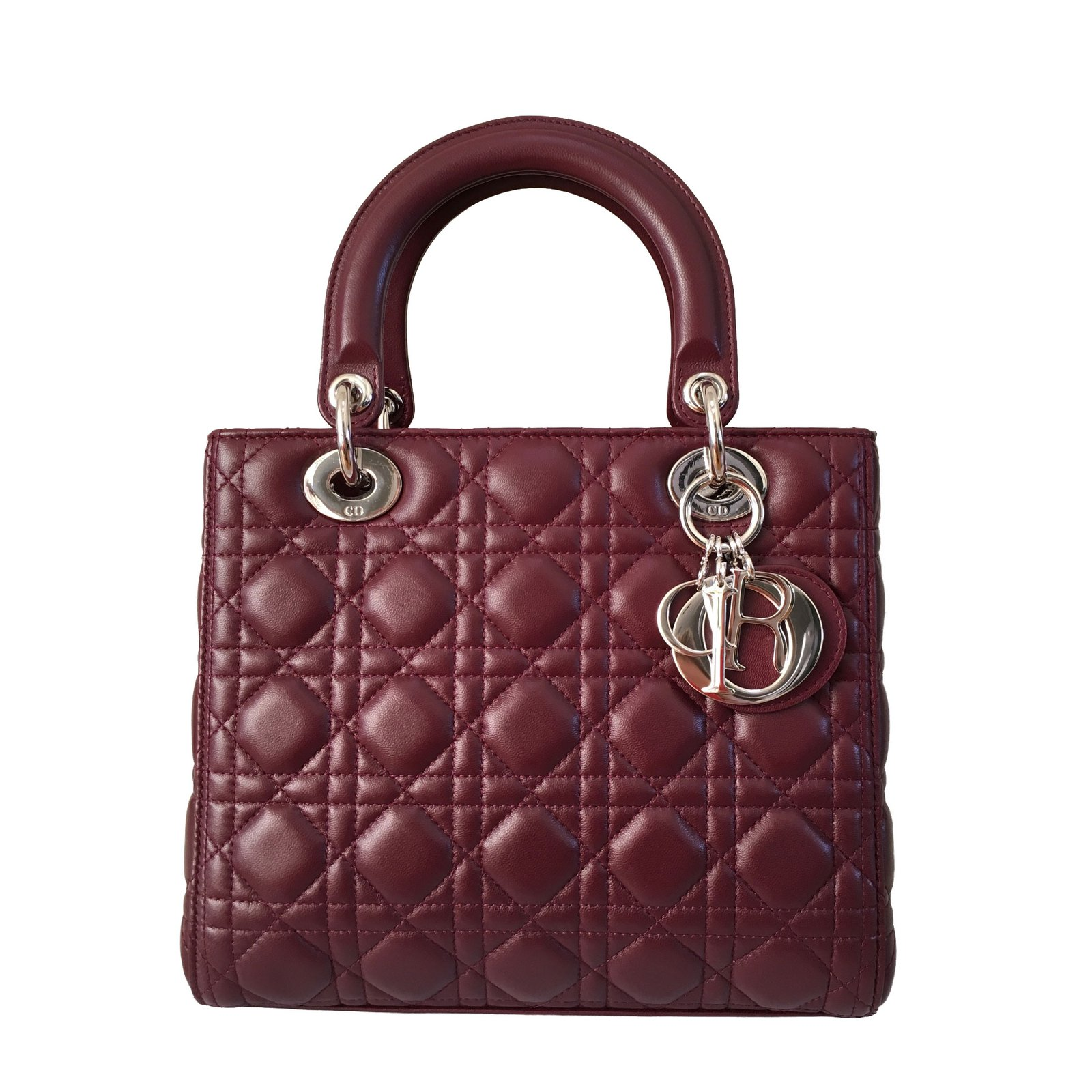 christian dior lady dior handbags lambskin dark red joli closet. Black Bedroom Furniture Sets. Home Design Ideas