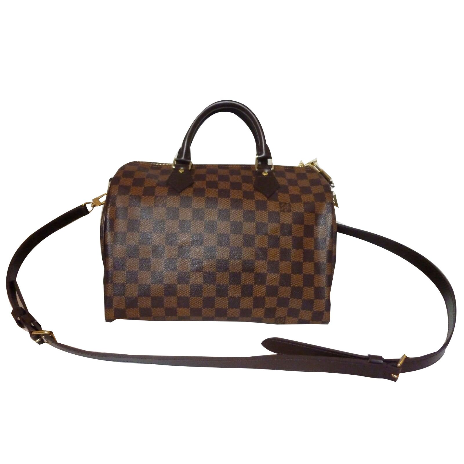 ... Sacs à main Louis Vuitton Superbe Sac Louis Vuitton Speedy 30 à  bandoulière à damier ébène ... 30c5c403443