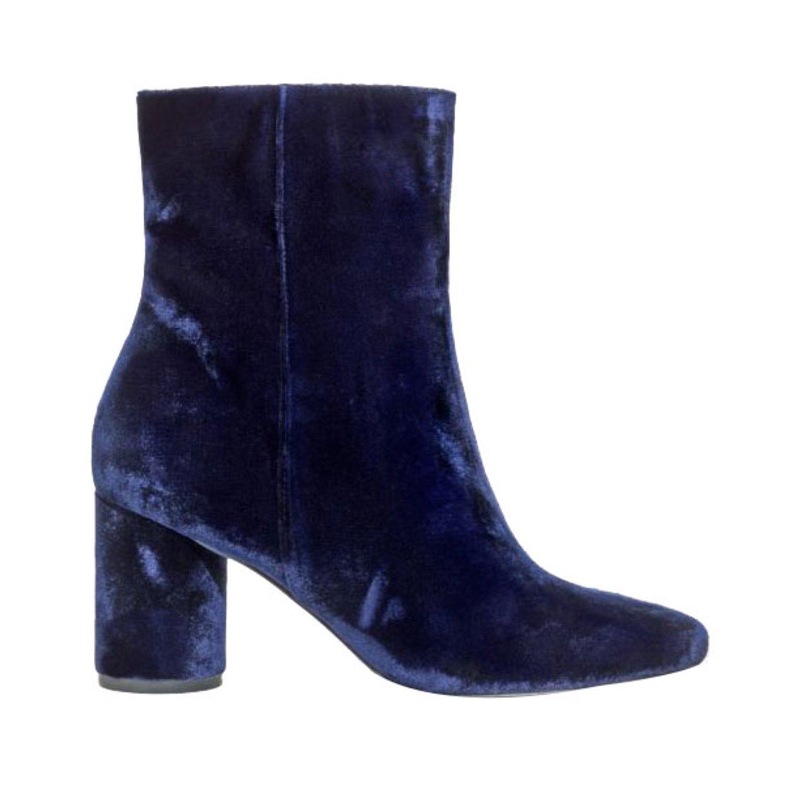 Other Stories Ankle Boots In Velvet Ankle Boots Velvet Navy Blue