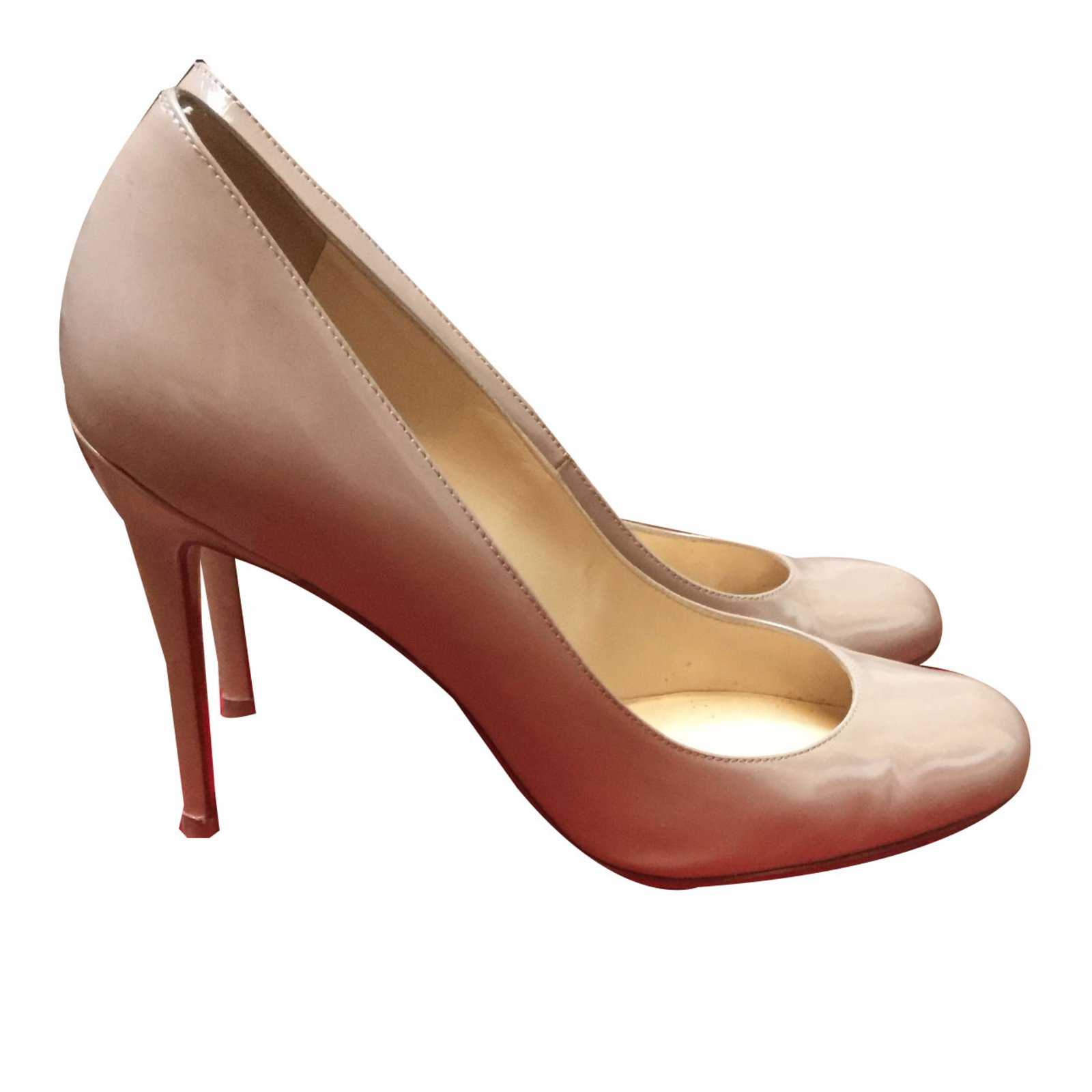 aceadcad03b8 Christian Louboutin Simple pump Heels Patent leather Beige ref.46850 ...