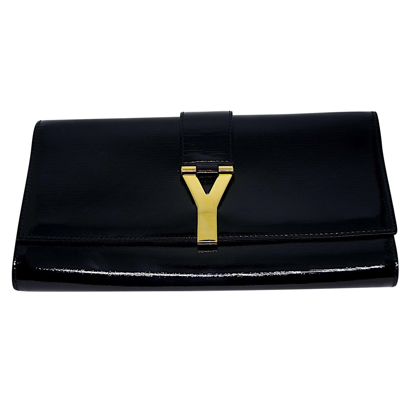 8390d7de311 Yves Saint Laurent Pochette Chyc Yves Saint Laurent Clutch bags Patent  leather Black ref.47079