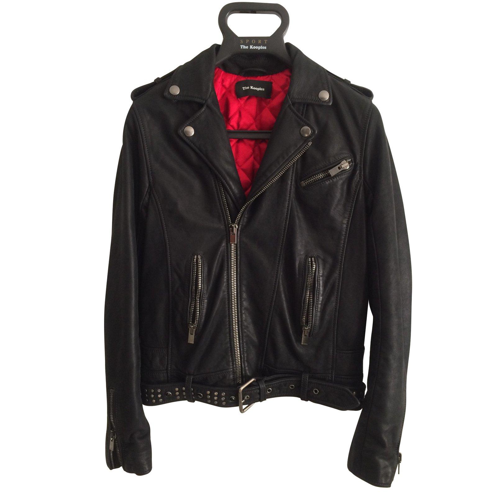 135d34a6a8 The Kooples Biker jacket Biker jackets Leather Black ref.47199 ...