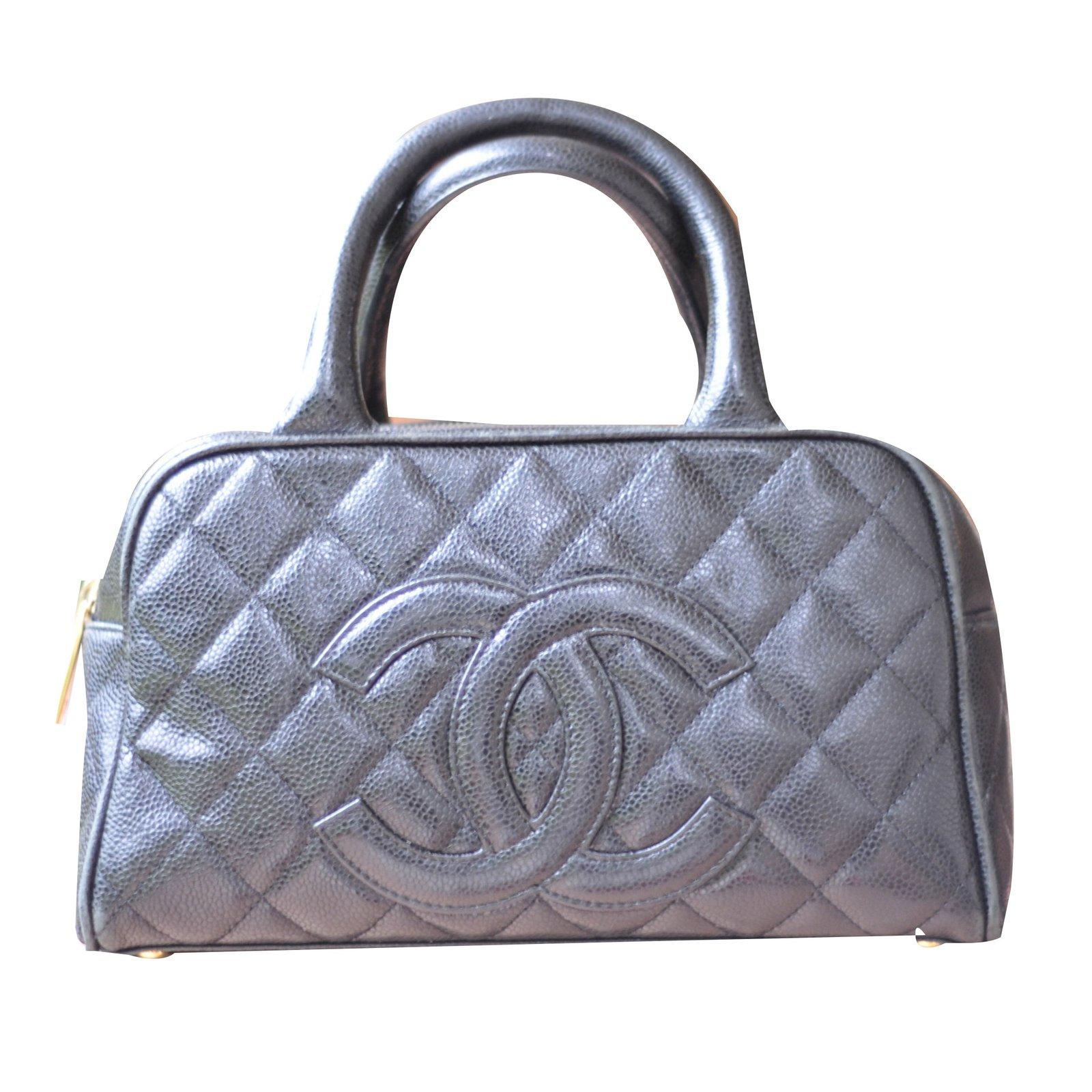 Chanel Bowling Bag Handbags Leather Black Ref 47311