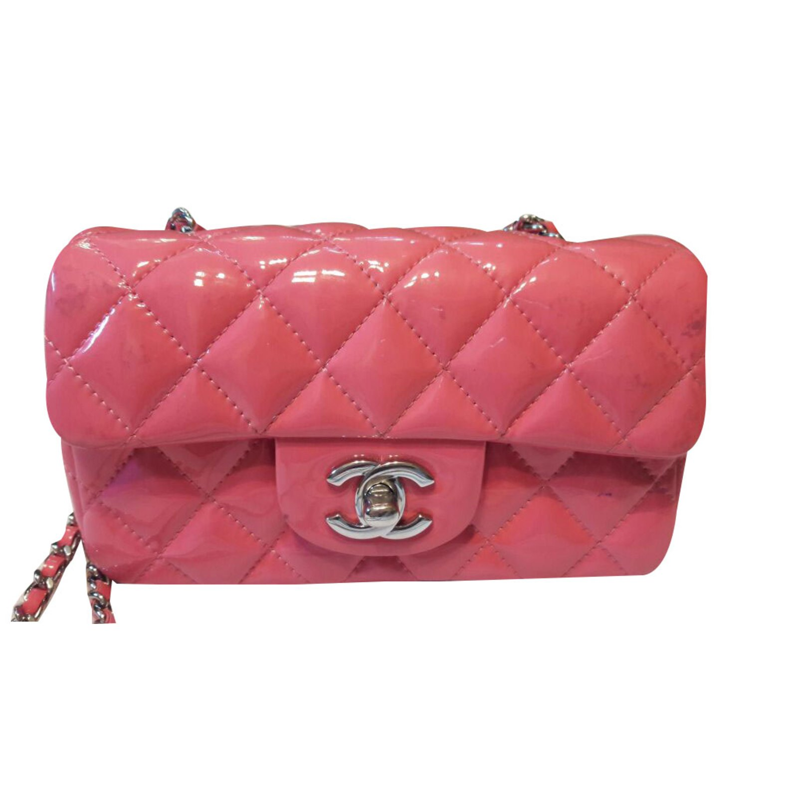 0a47d2a1c742 Chanel Mini classic flap bag Handbags Patent leather Pink ref.47499 ...
