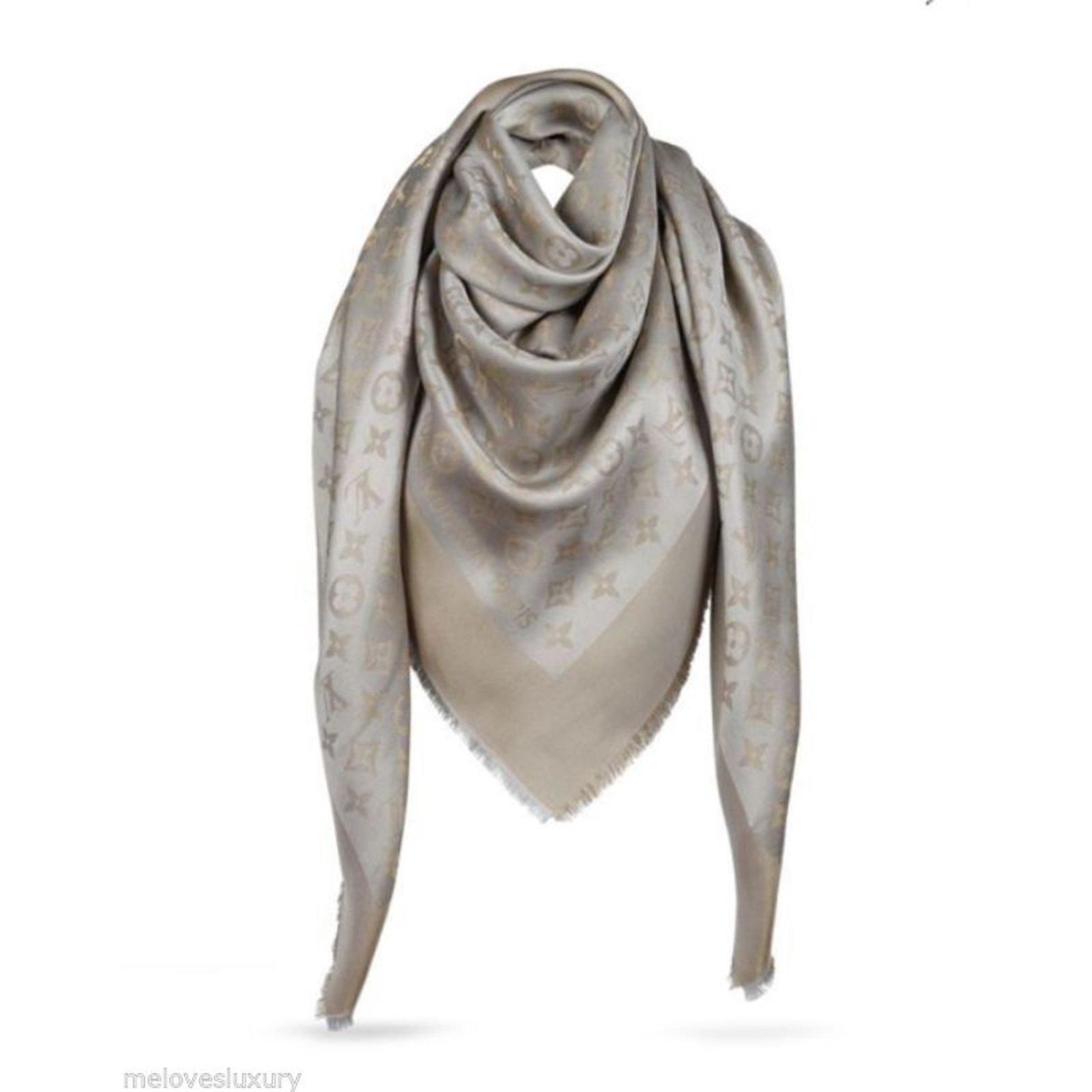 6993f77b61d2 Louis Vuitton Classical Monogram Scarf Scarves Silk Beige ref.47818 ...