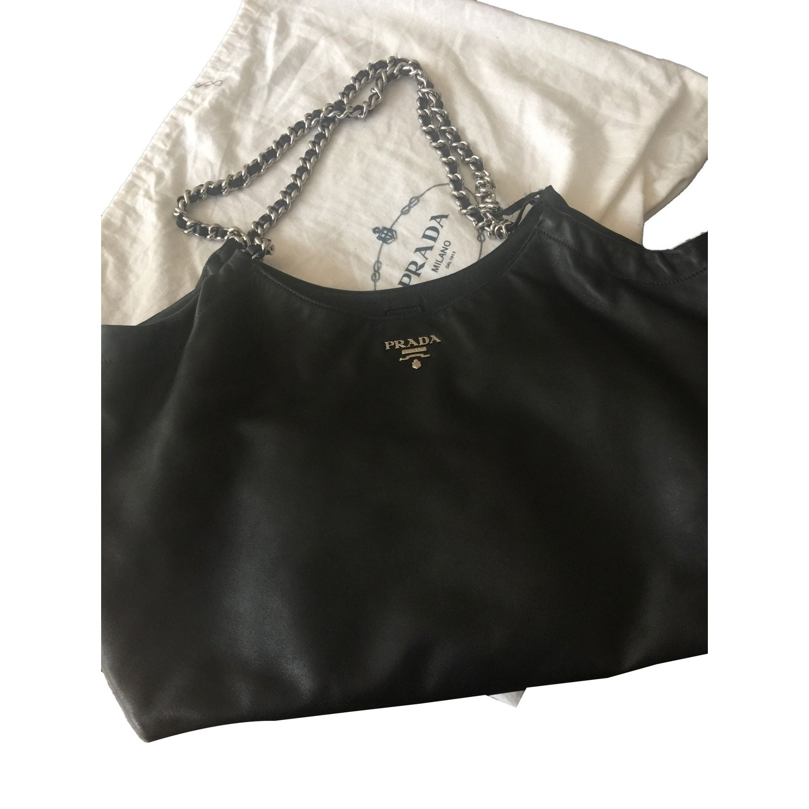 95dc83cee2c5 Prada Handbags Leather Black Ref 48043 Joli Closet. Prada Handbags. Prada  Leather Cahier Shoulder Bag