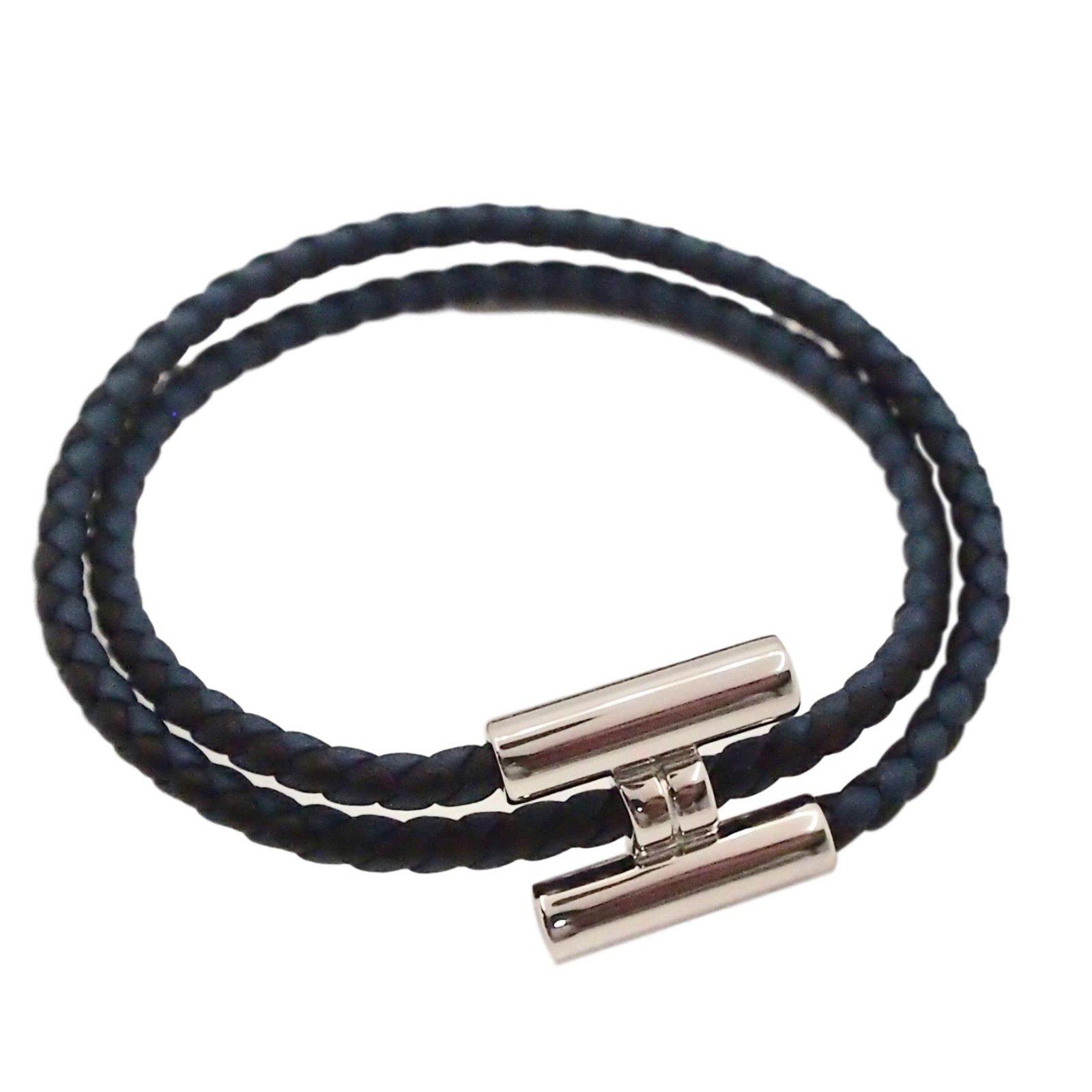 Bracelets Hermès Bracelet Tournis tréssé Hermès Cuir