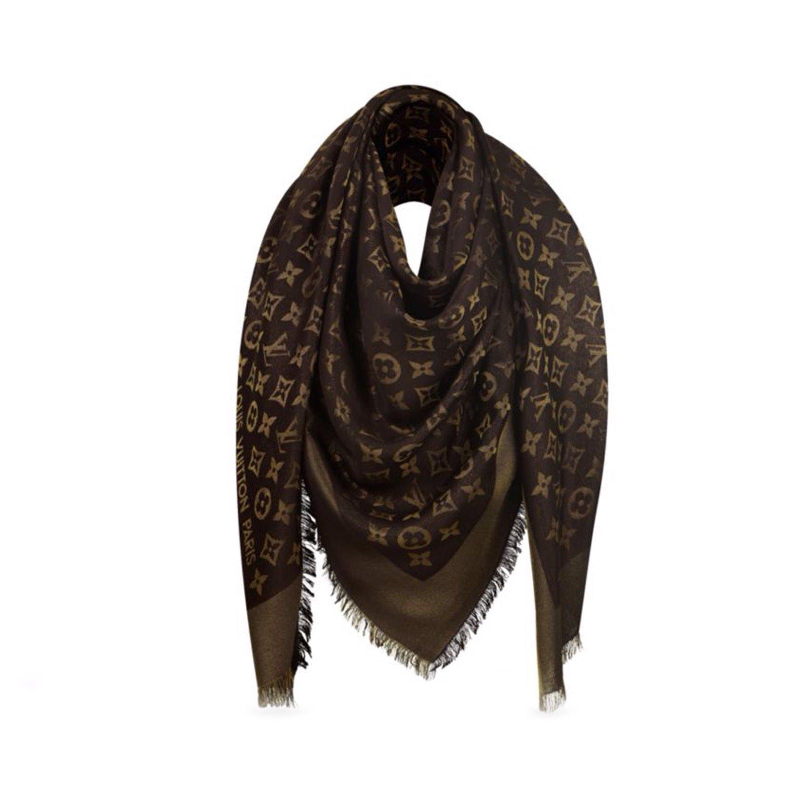 2f2a217ec49b Louis Vuitton Classical Monogram Scarf Scarves Silk Brown ref.48416 ...