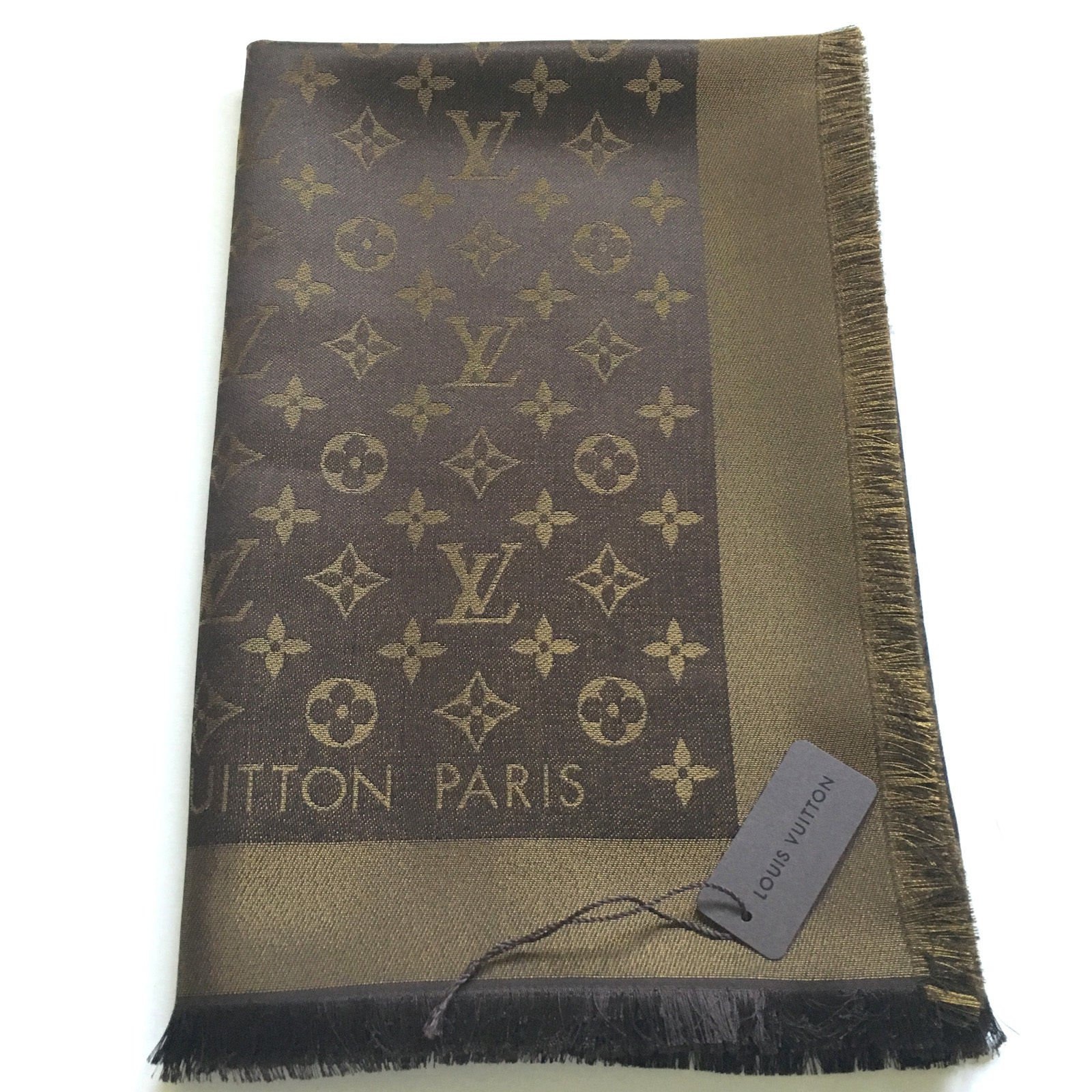 81e45bd0181c Louis Vuitton Classical Monogram Scarf Scarves Silk Brown ref.48693 ...
