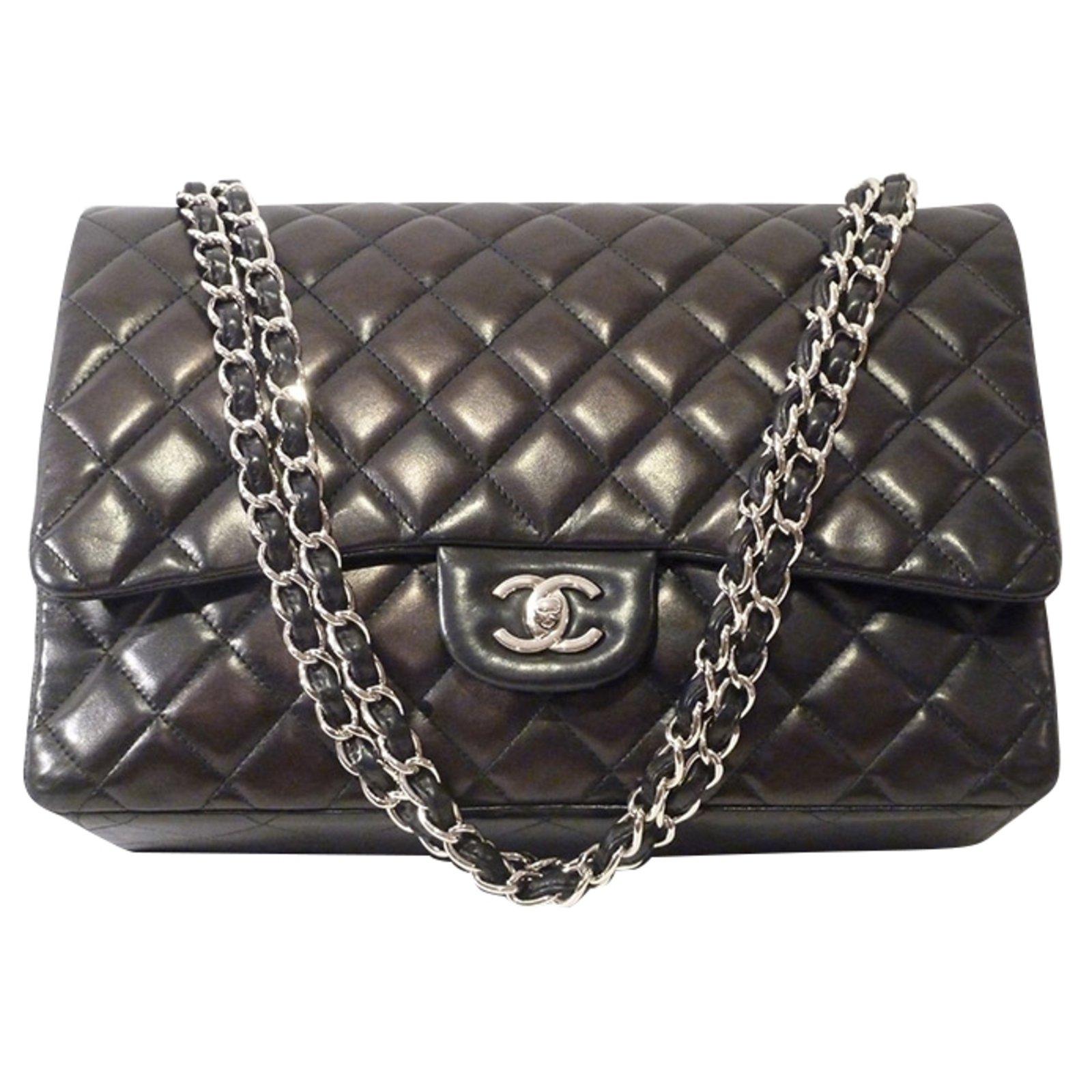 83fe84bca9cc Chanel Chanel Maxi Classic Flap Shoulder Bag Handbags Leather Black  ref.49018