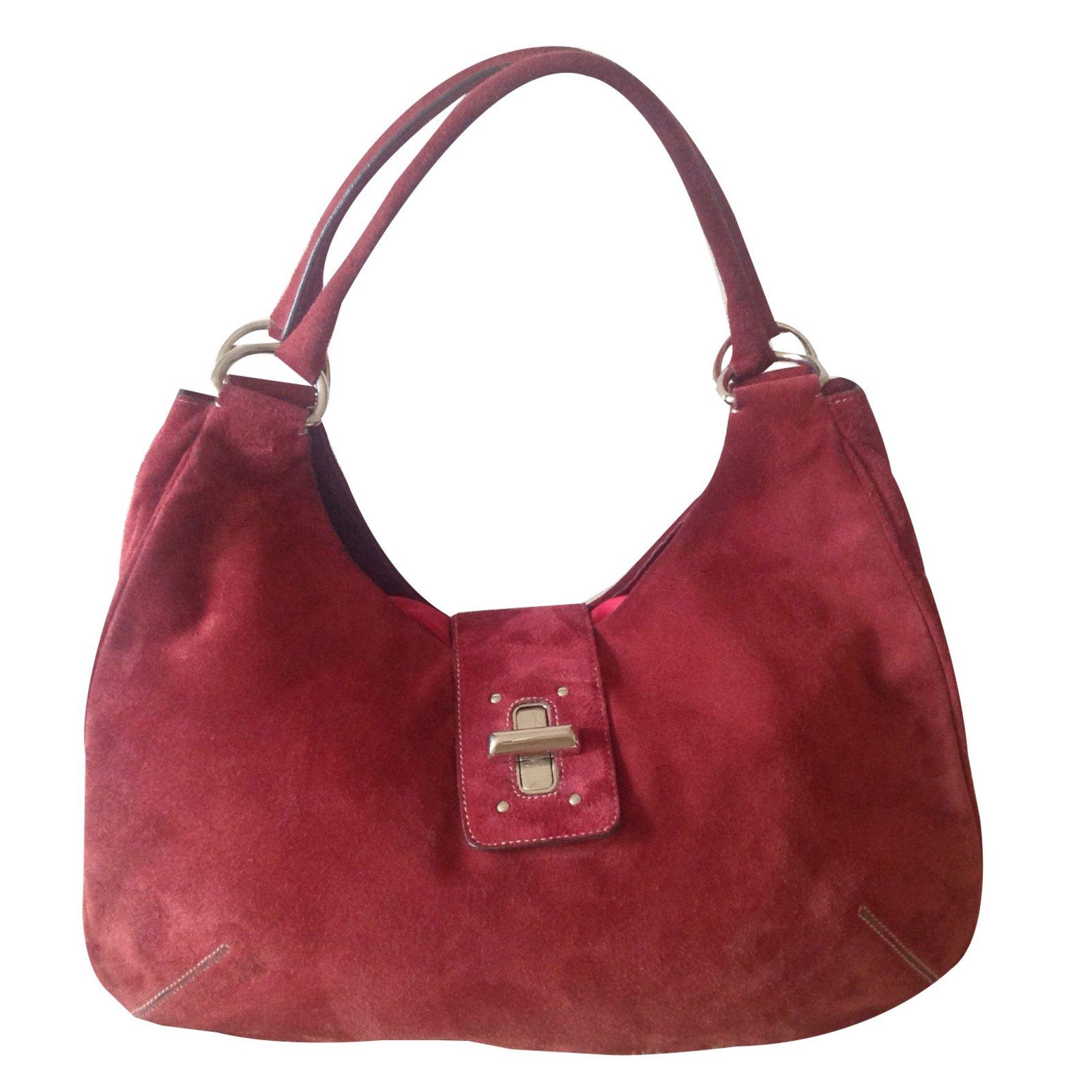 Prada Handbags Handbags Deerskin Dark red ref.49292 - Joli Closet