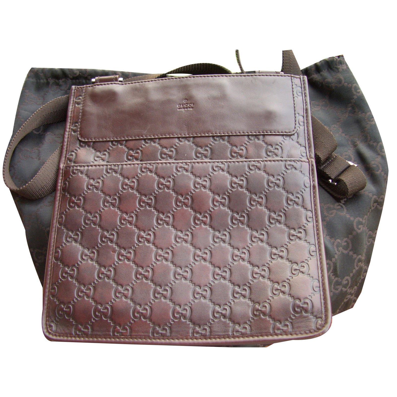 Gucci Crossbody Bag Clutch Bags Leather Dark Brown Ref 49694